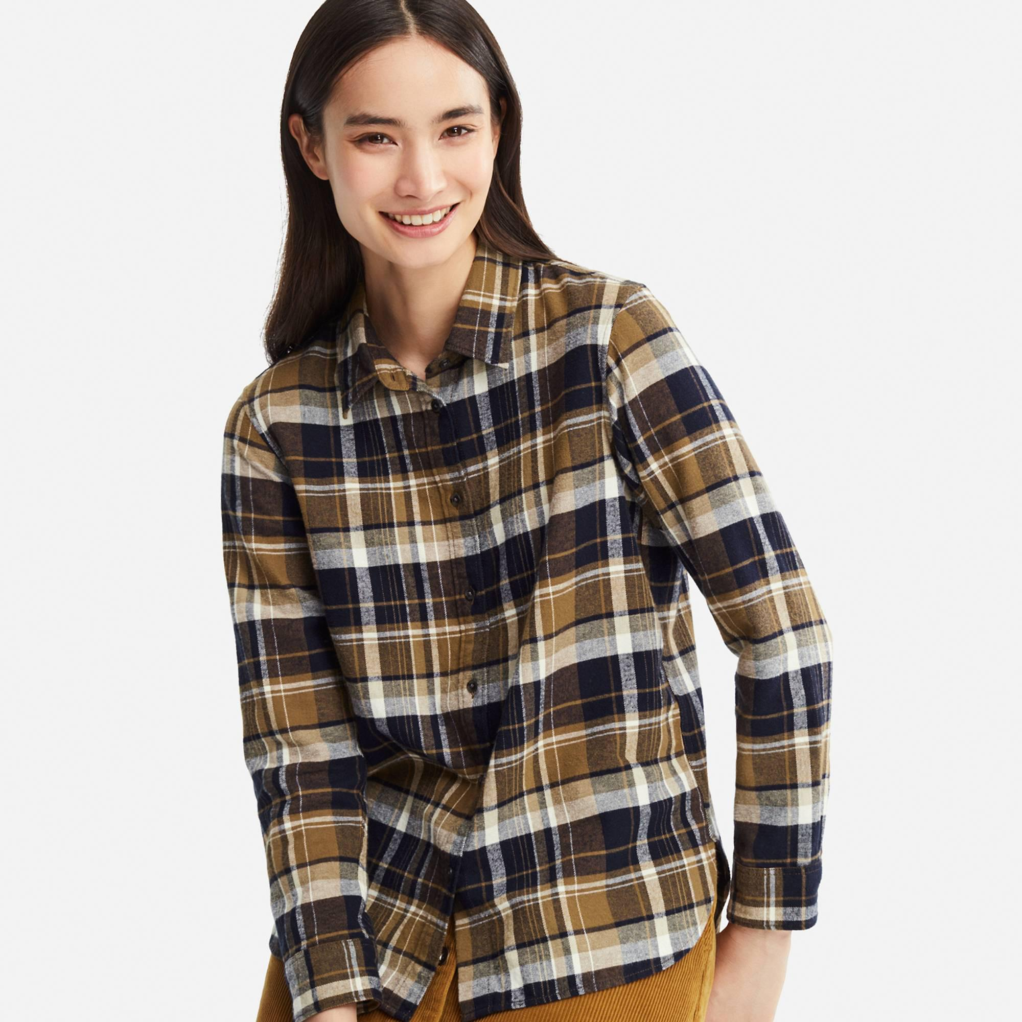 0af95e4477a10 Lyst - Uniqlo Women Flannel Checked Long-sleeve Shirt in Brown