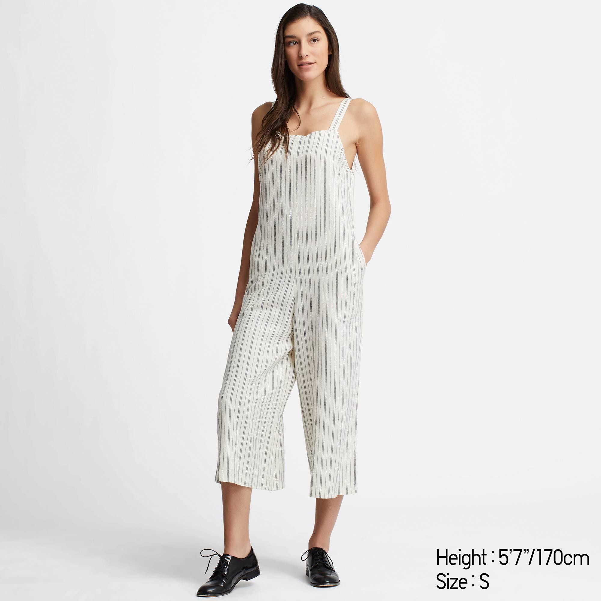 61d8c0a4358 Lyst - Uniqlo Women Linen Blend Striped Jumpsuit in White