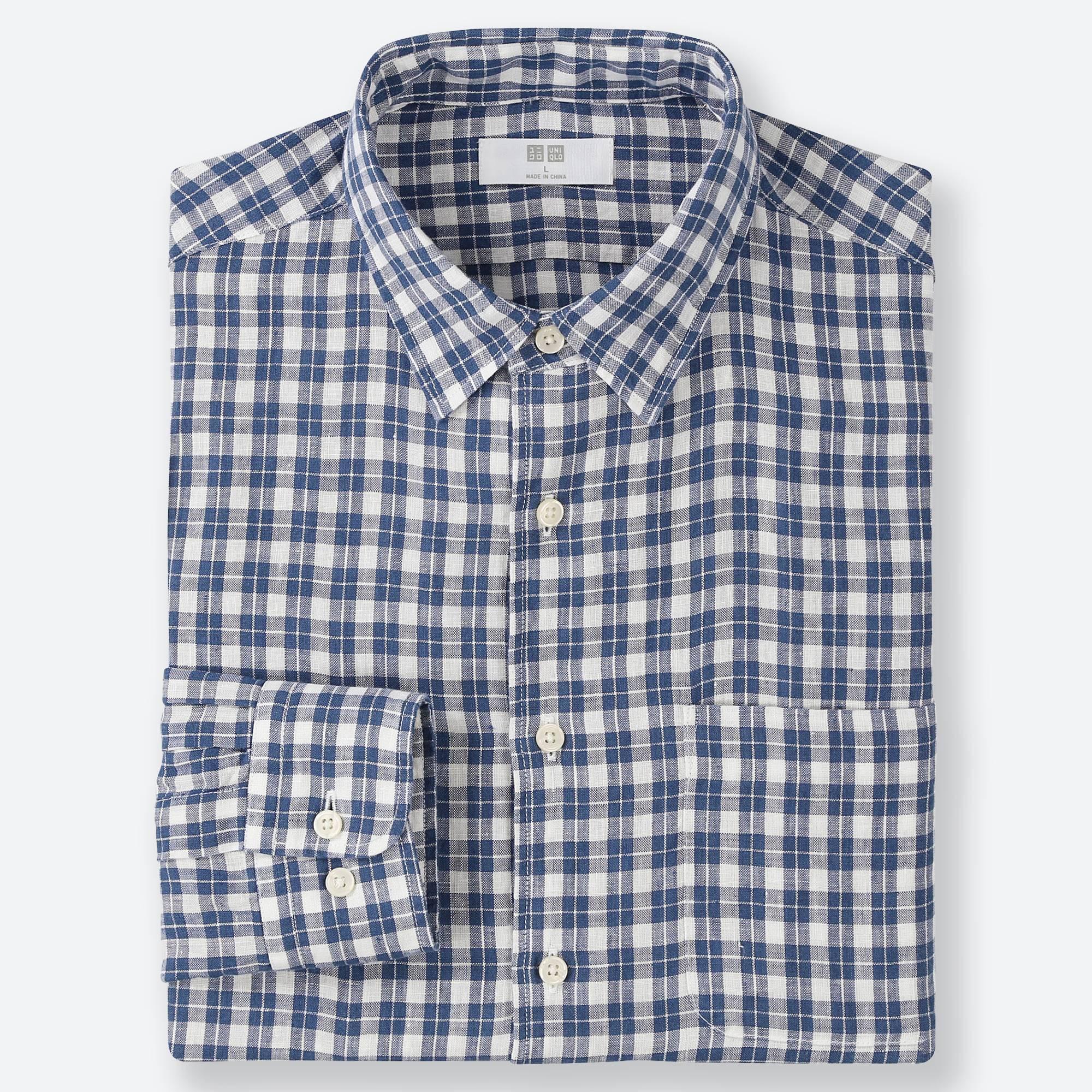 2c76e18c585 Lyst - Uniqlo Men Premium Linen Checked Long-sleeve Shirt in Blue ...