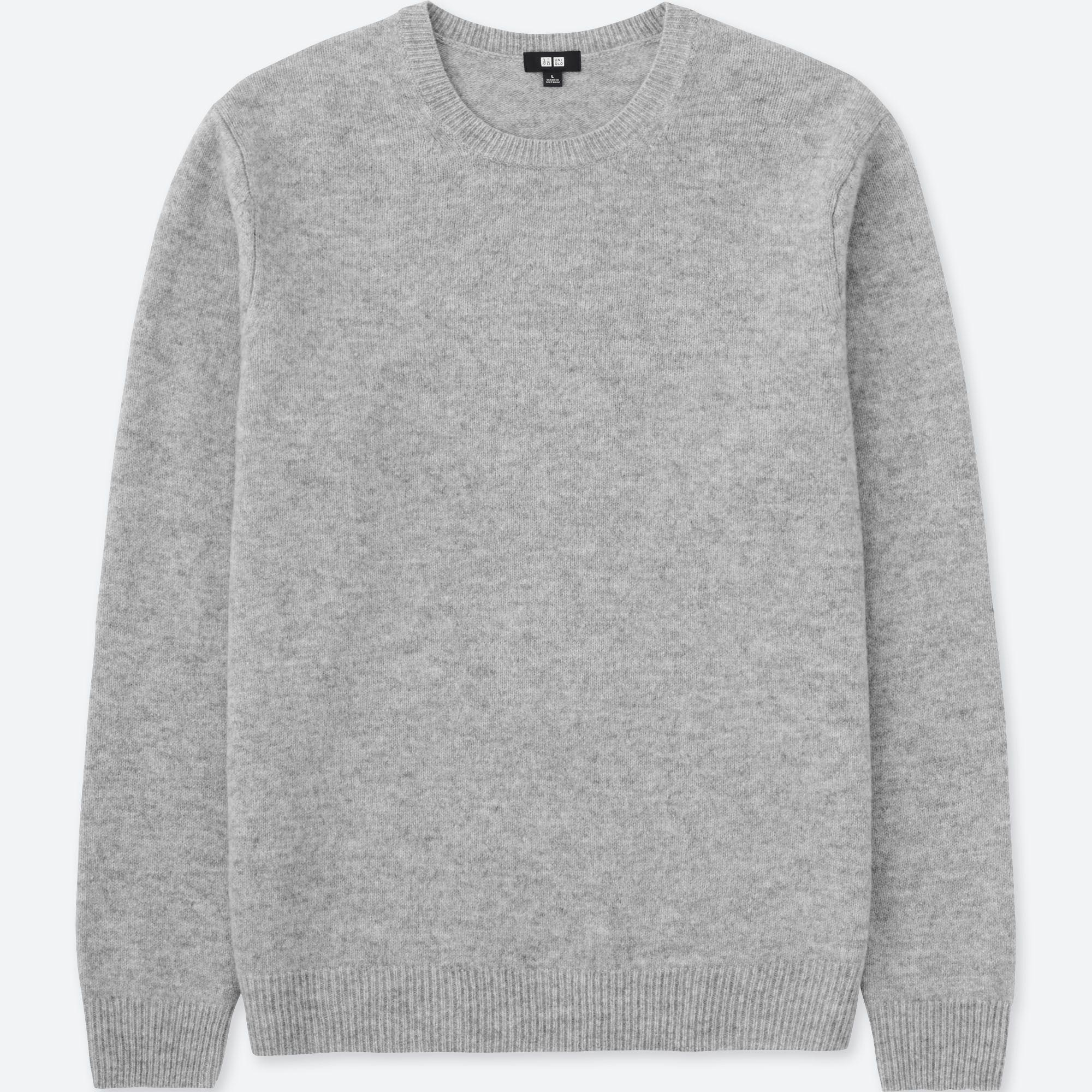 2611bfa76 Uniqlo Premium Lambswool Crew Neck Long Sleeved Jumper in Gray for ...