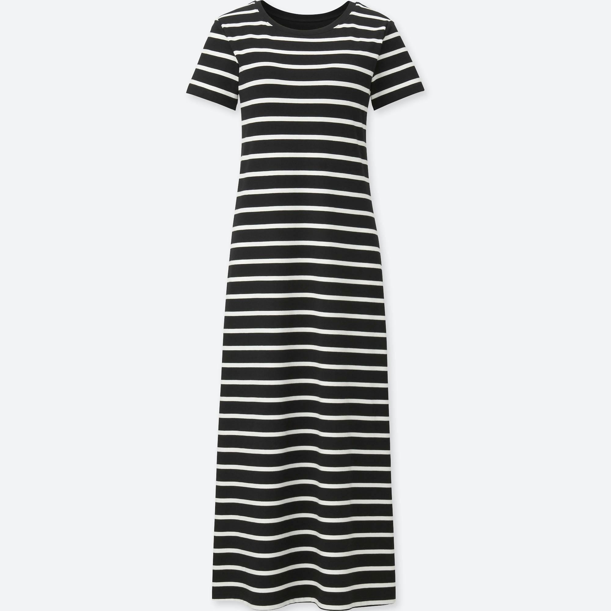 c98c201247312 Lyst - Uniqlo Striped Short Sleeve Maxi Bra Dress in Black