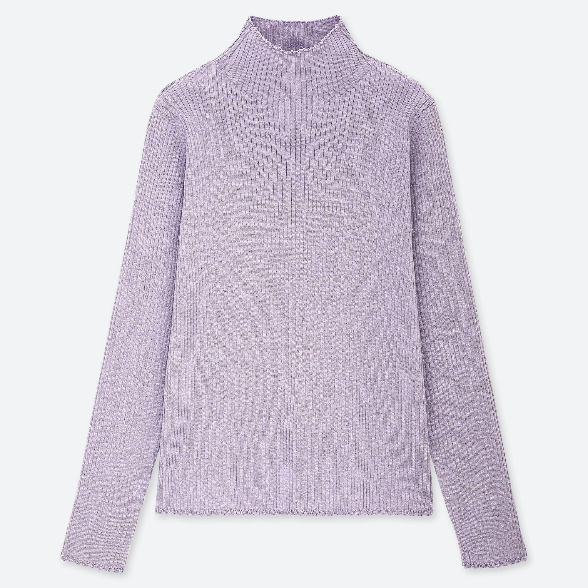 f15e2bc914 Lyst - Uniqlo Women Shiny Ribbed High-neck Sweater in Purple