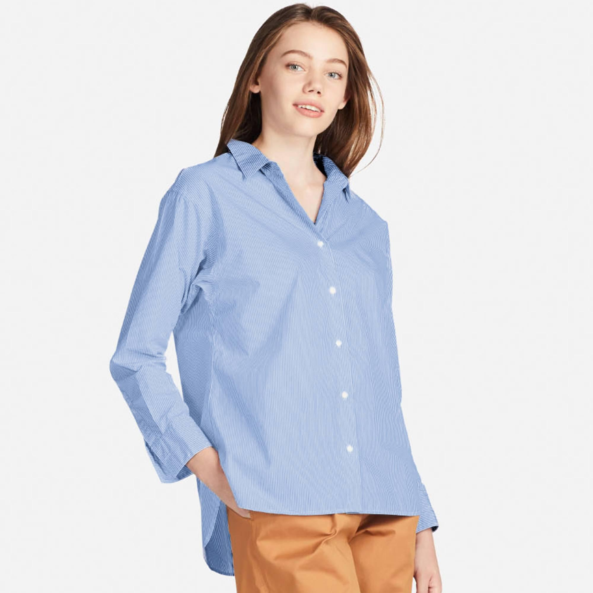1f4f9e00c0 Lyst - Uniqlo Women Extra Fine Cotton Striped Long-sleeve Shirt in Blue