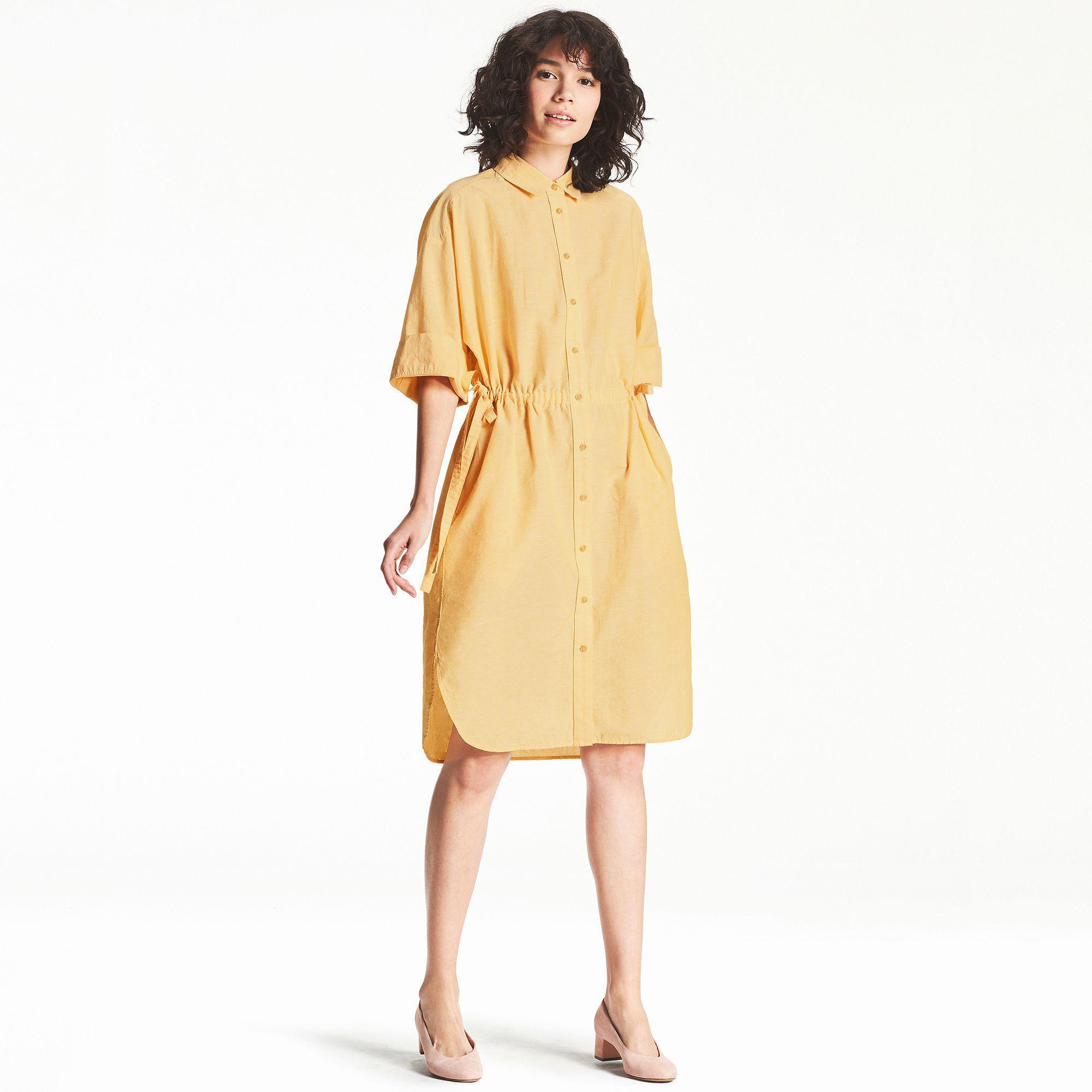 68f40cb8da9 Uniqlo Linen Cotton Shirt Dress