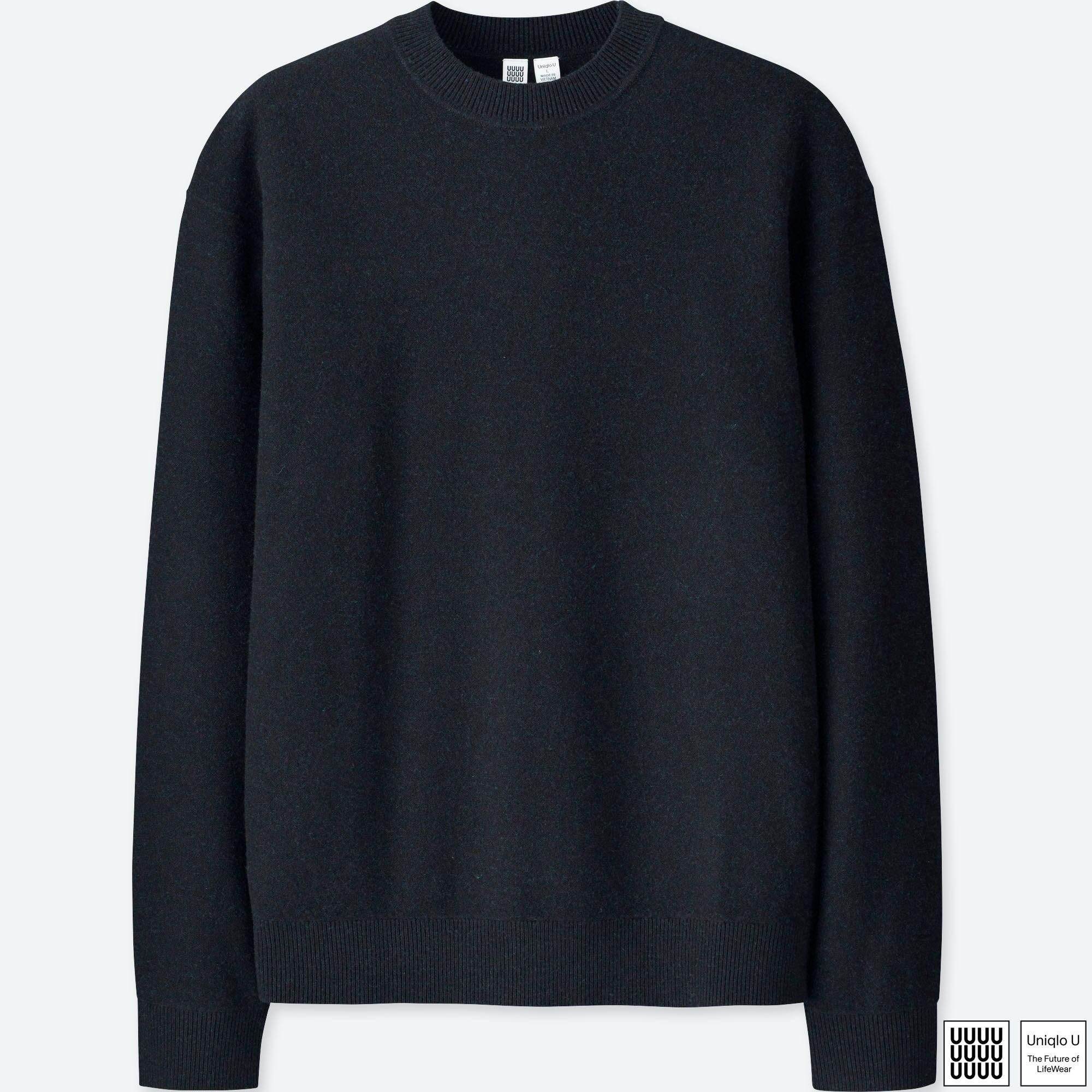 5f281572dd29fb Uniqlo U Premium Lambswool Crew Neck Long Sleeve Sweater in Black ...
