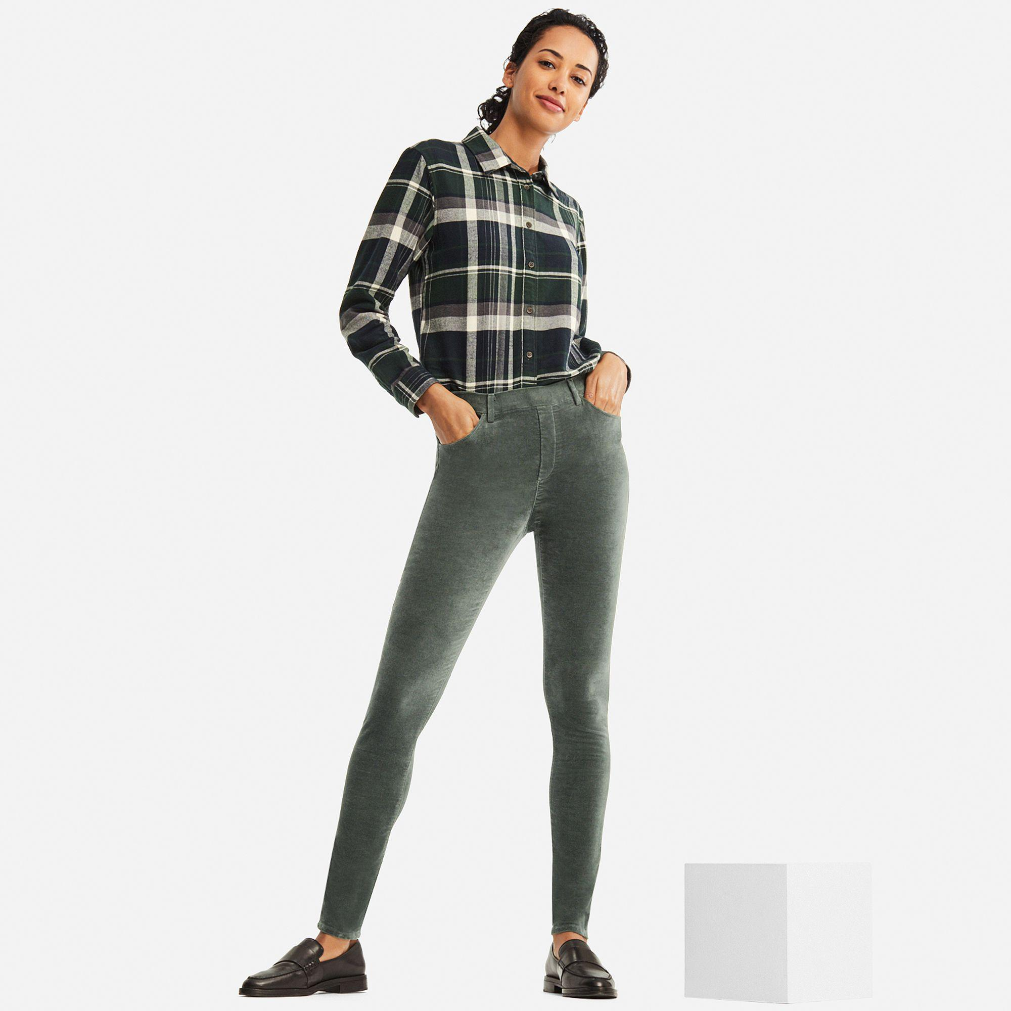 911cd15f82edc9 Uniqlo Heattech Velvet High Rise LEGGINGS Trousers in Green - Lyst