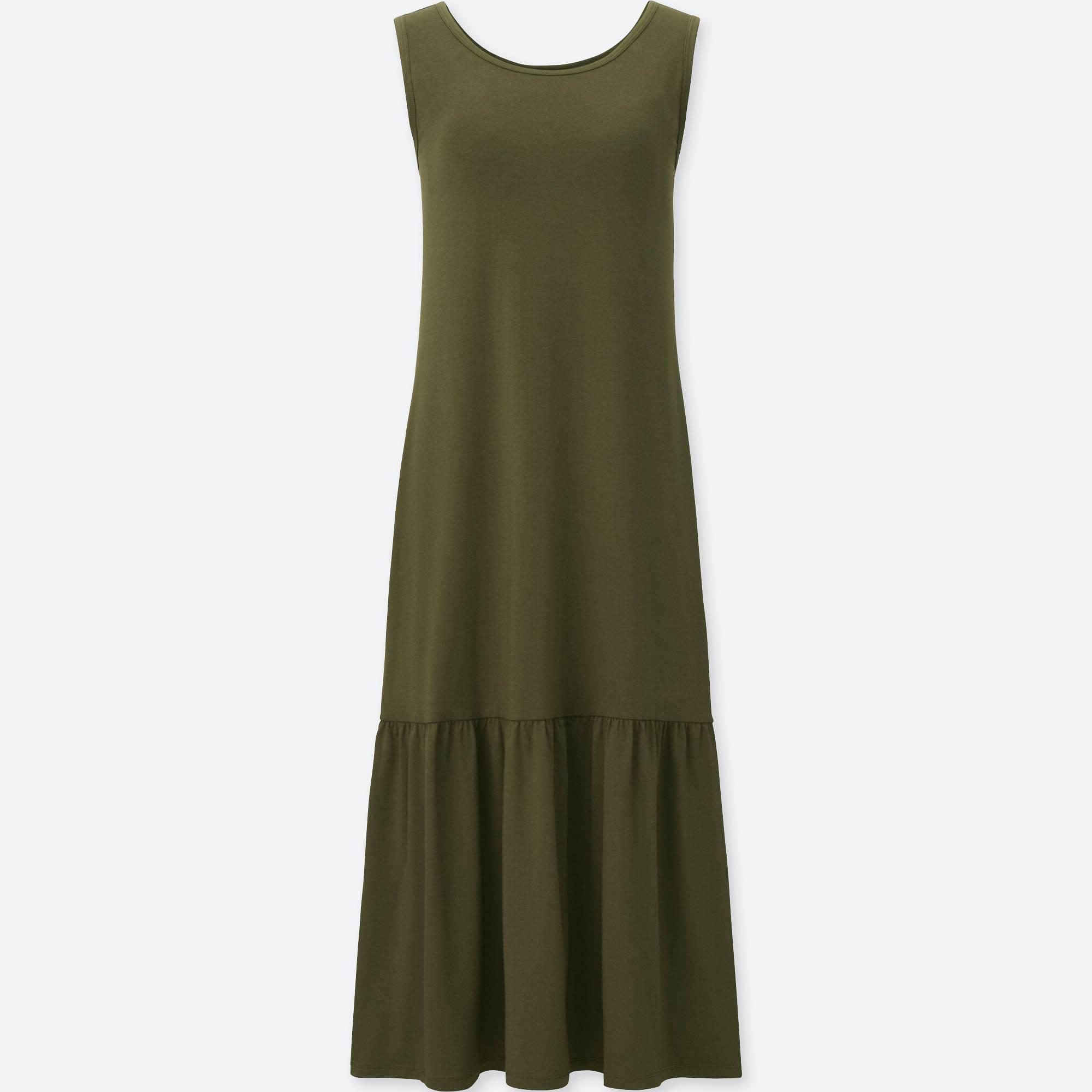 8f49932f4e Lyst - Uniqlo Flared Sleeveless Bra Dress in Green