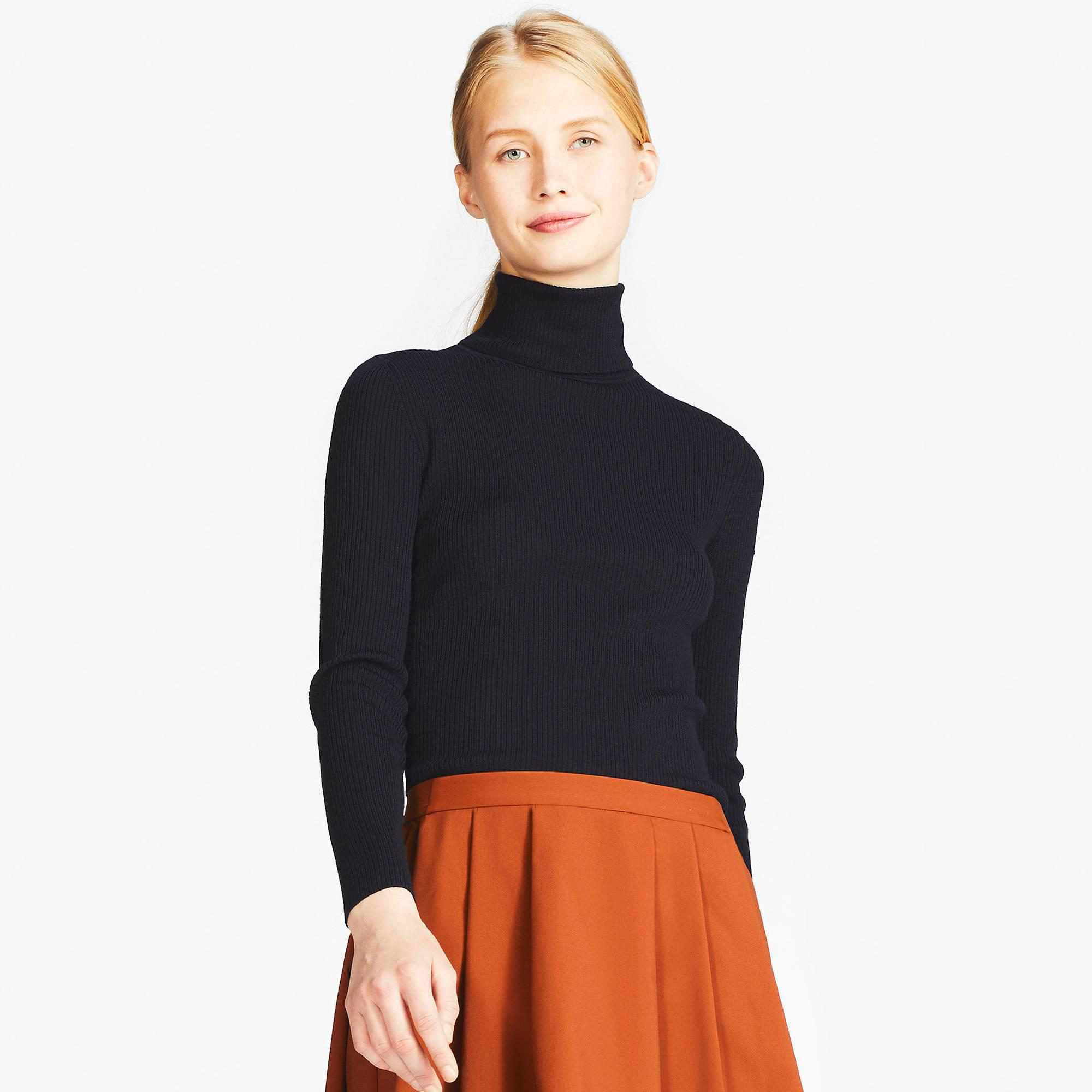 Uniqlo Women Extra Fine Merino Ribbed Turtleneck Sweater in Blue ...