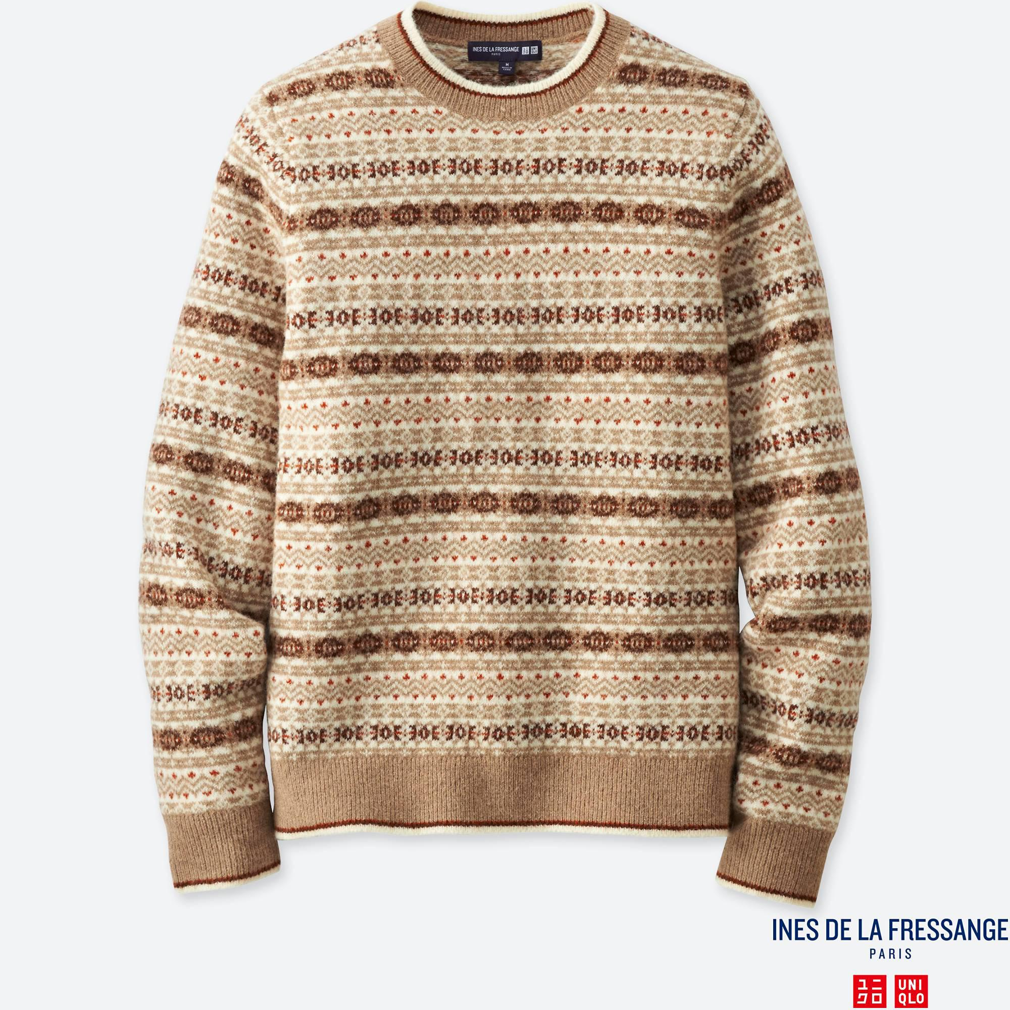 Uniqlo Men Idlf Jacquard Crewneck Long-sleeve Sweater in Natural ...