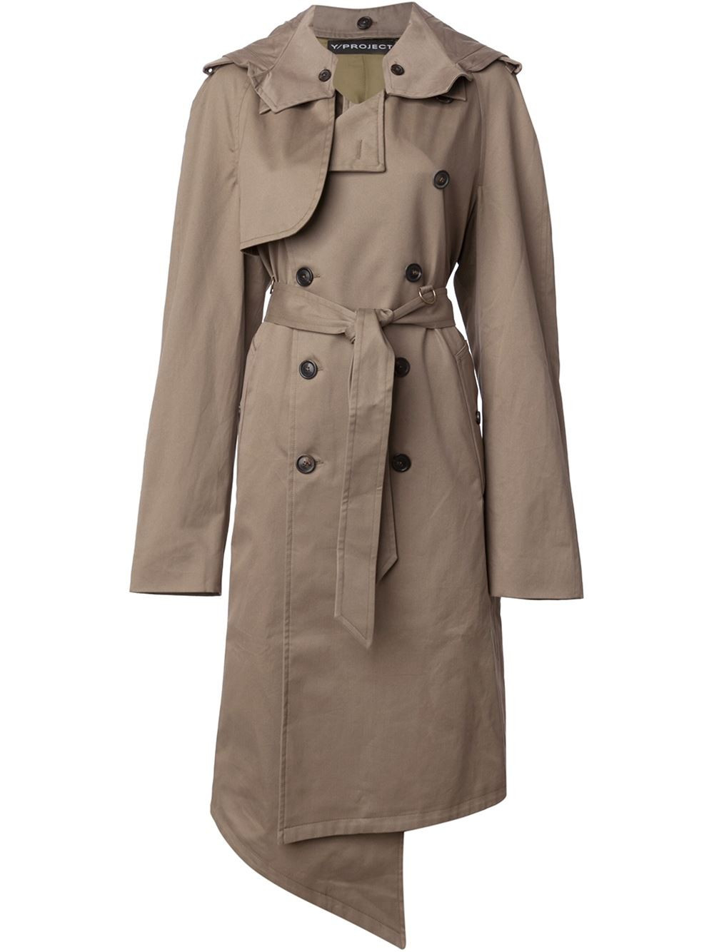 Y. project Beige Hooded Trench Coat in Natural for Men