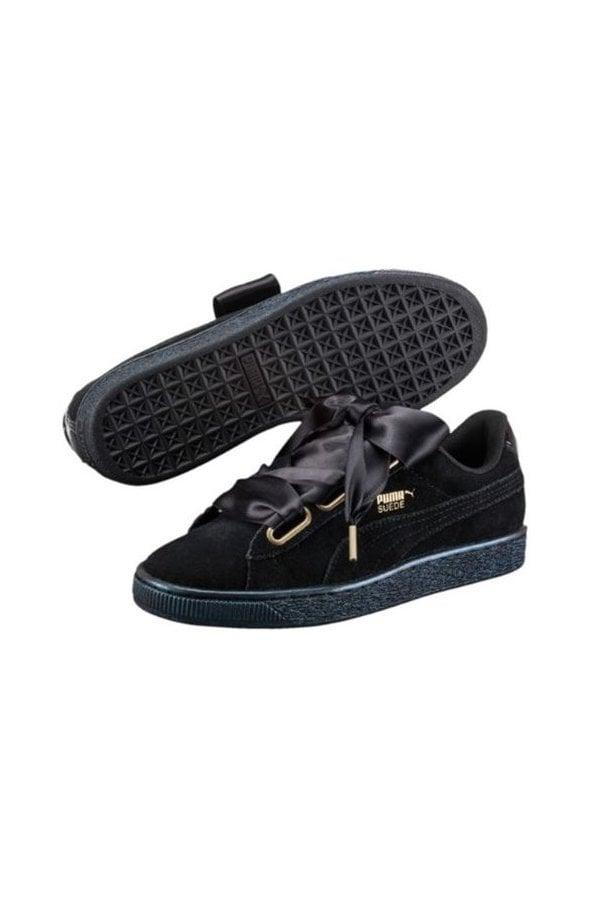 low priced a5661 750b4 PUMA Puma Suede Heart Satin Trainers in Black for Men - Lyst
