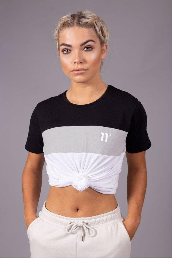 Lyst - 11 Degrees Women s Colour Block T-shirt in Black 78217f843