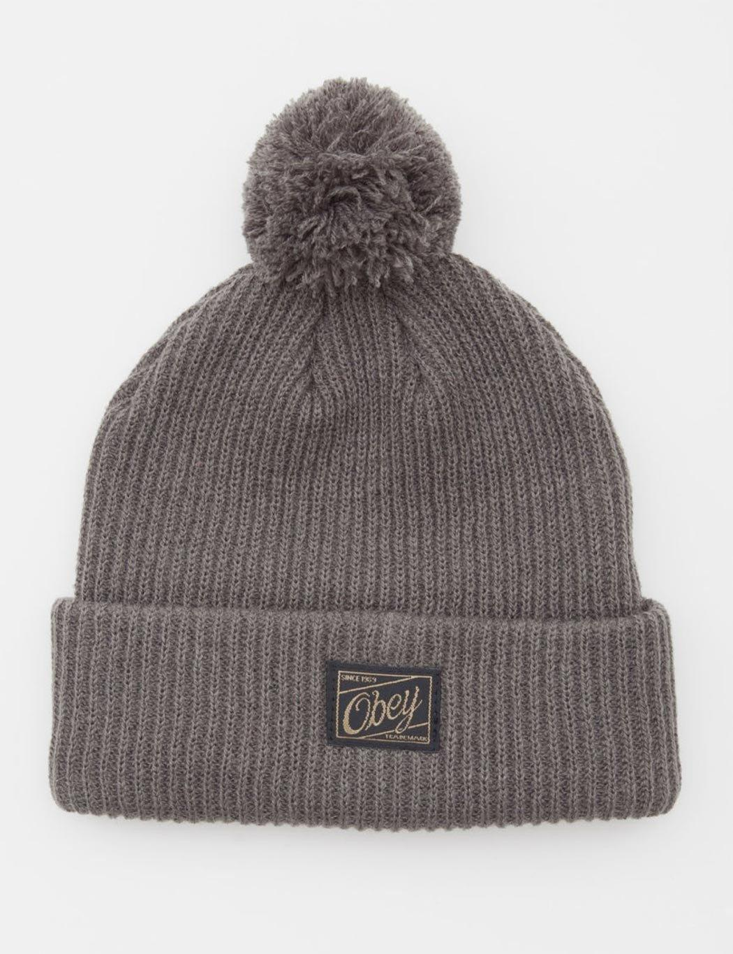 e54d0fddd58 Pointer Obey Old Timey Pom Pom Beanie Hat in Gray - Lyst