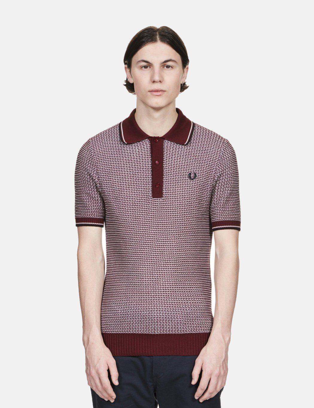 6da23cf0 Lyst - Fred Perry Re-issues Two Colour Texture Knit Polo Shirt in ...