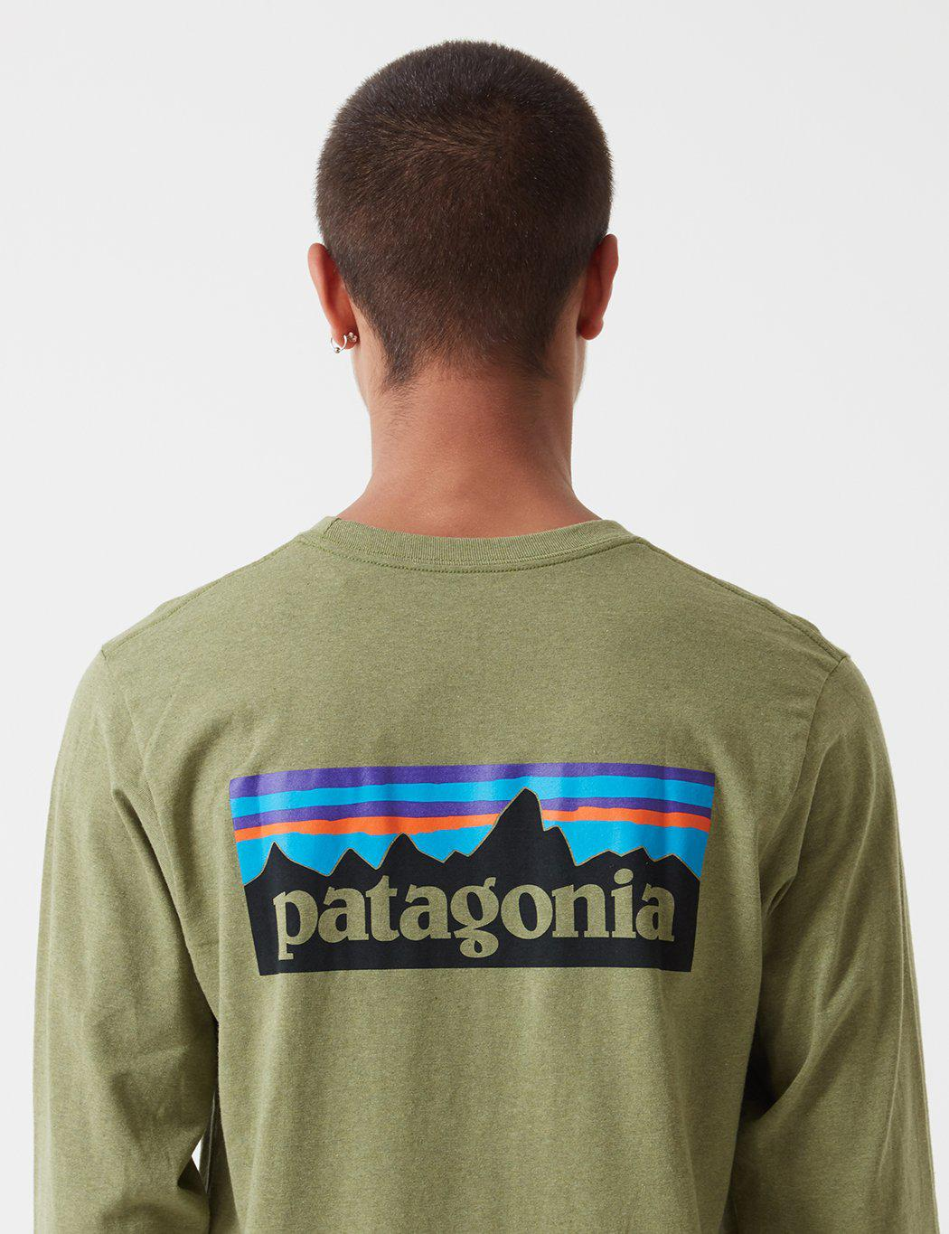 3366040a0362 Lyst - Patagonia P-6 Logo Responsibili-tee Long Sleeved T-shirt in ...