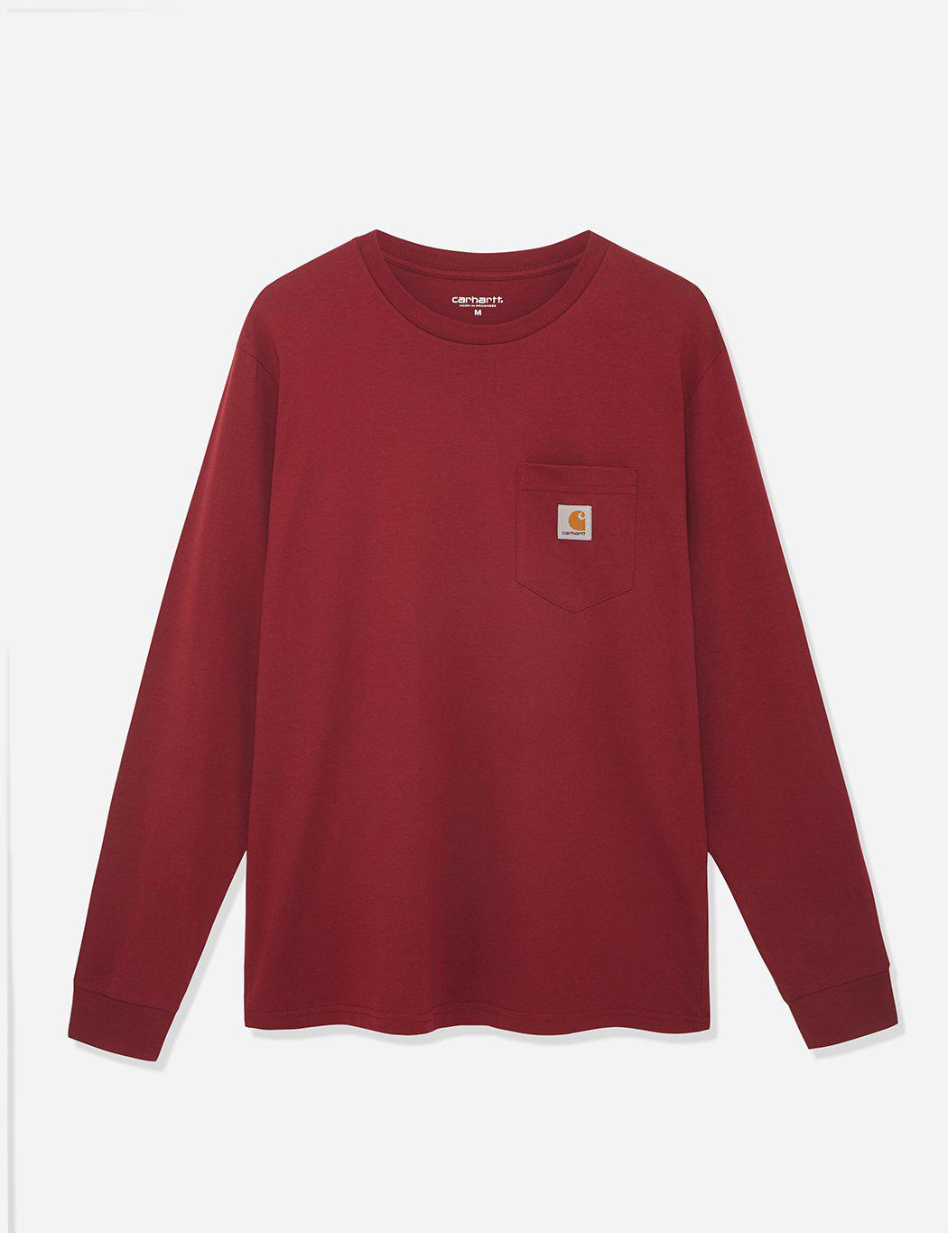fbed80781 Lyst - Carhartt Pocket Long Sleeve T-shirt in Red for Men