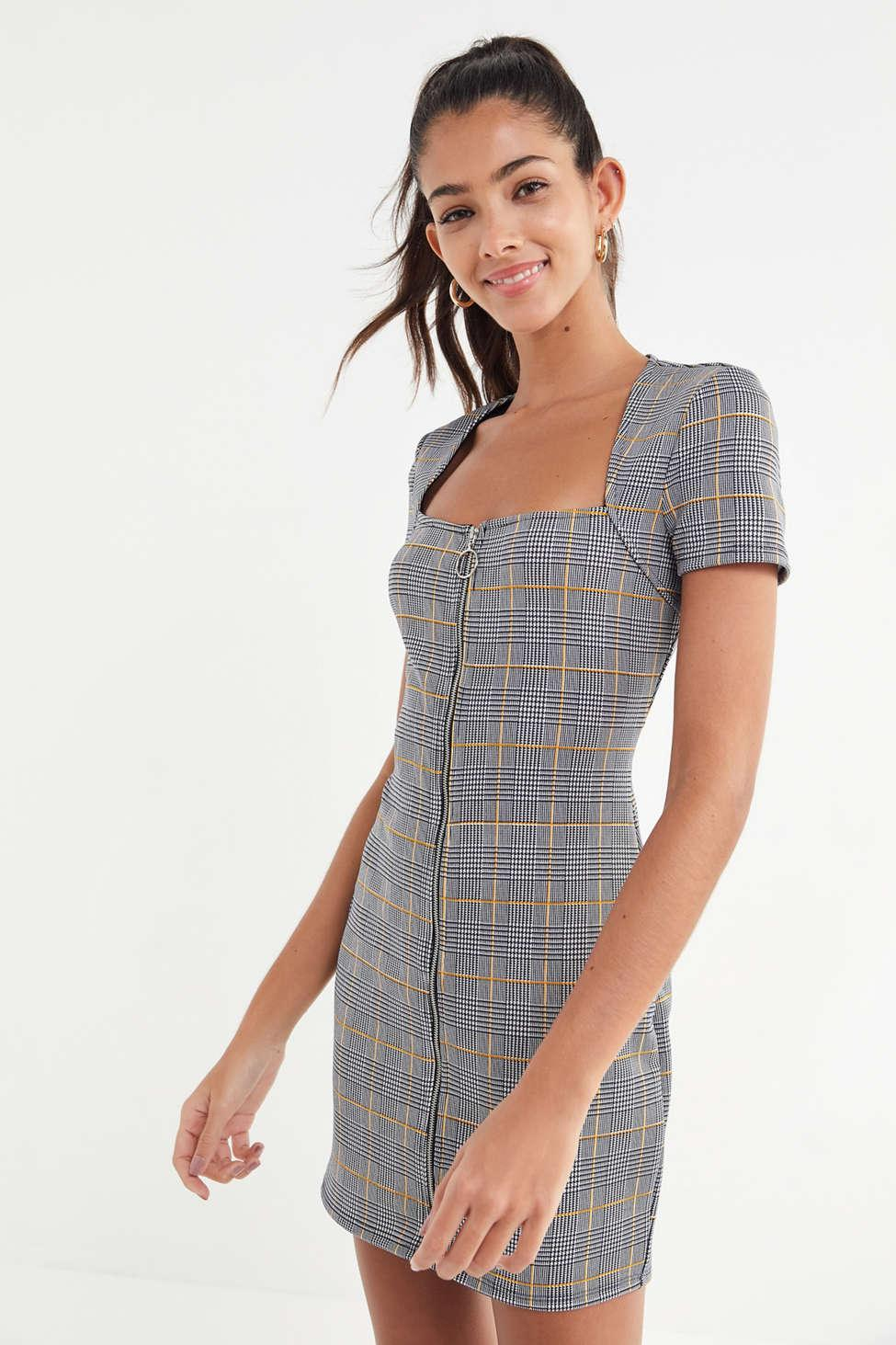 5032713bd80bc Lyst - Urban Outfitters Uo Plaid Zip-front Mini Dress in Natural