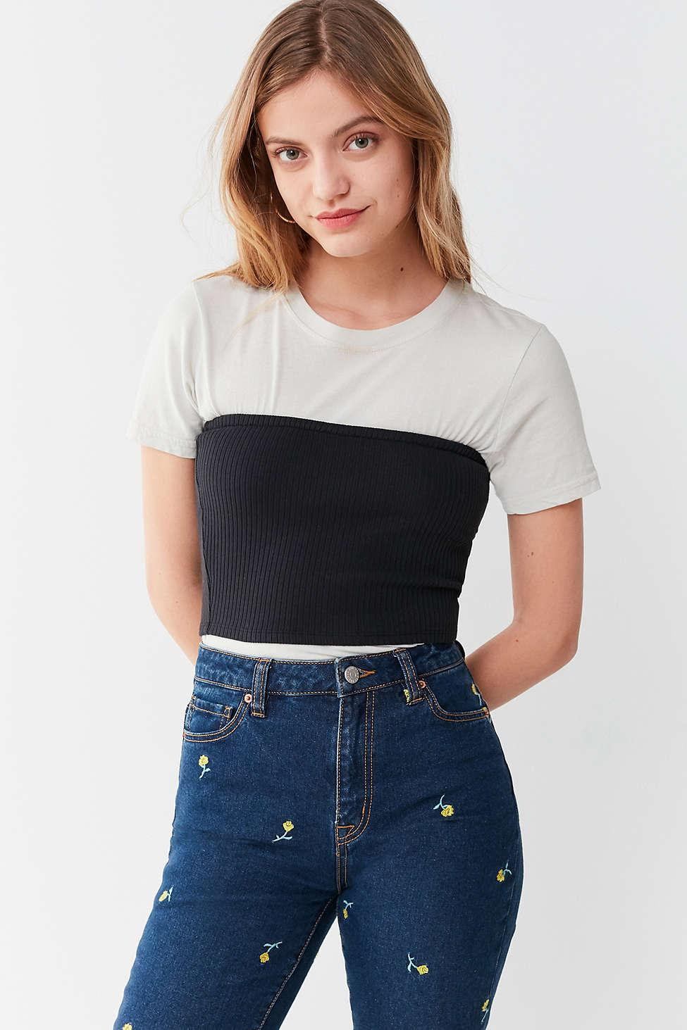 5be2602782 Lyst - Urban Outfitters Uo Hallie Ribbed Knit Tube Top in Black
