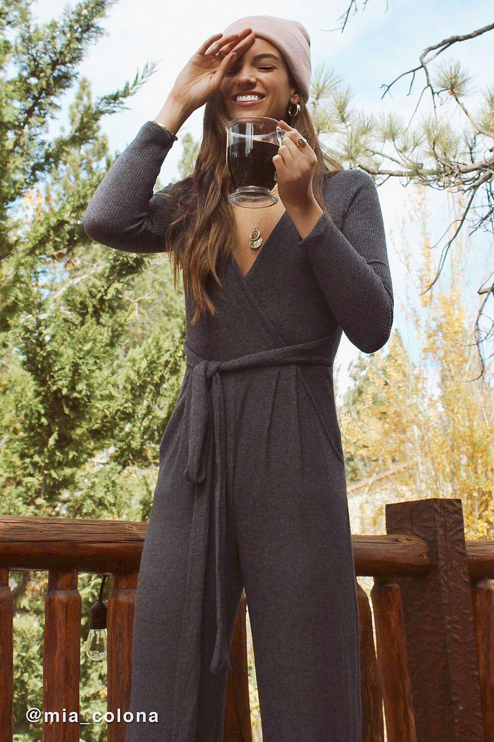 420a2c2757d1 Urban Outfitters Uo Cosy Ribbed Knit Wrap Jumpsuit - Womens Xs in ...