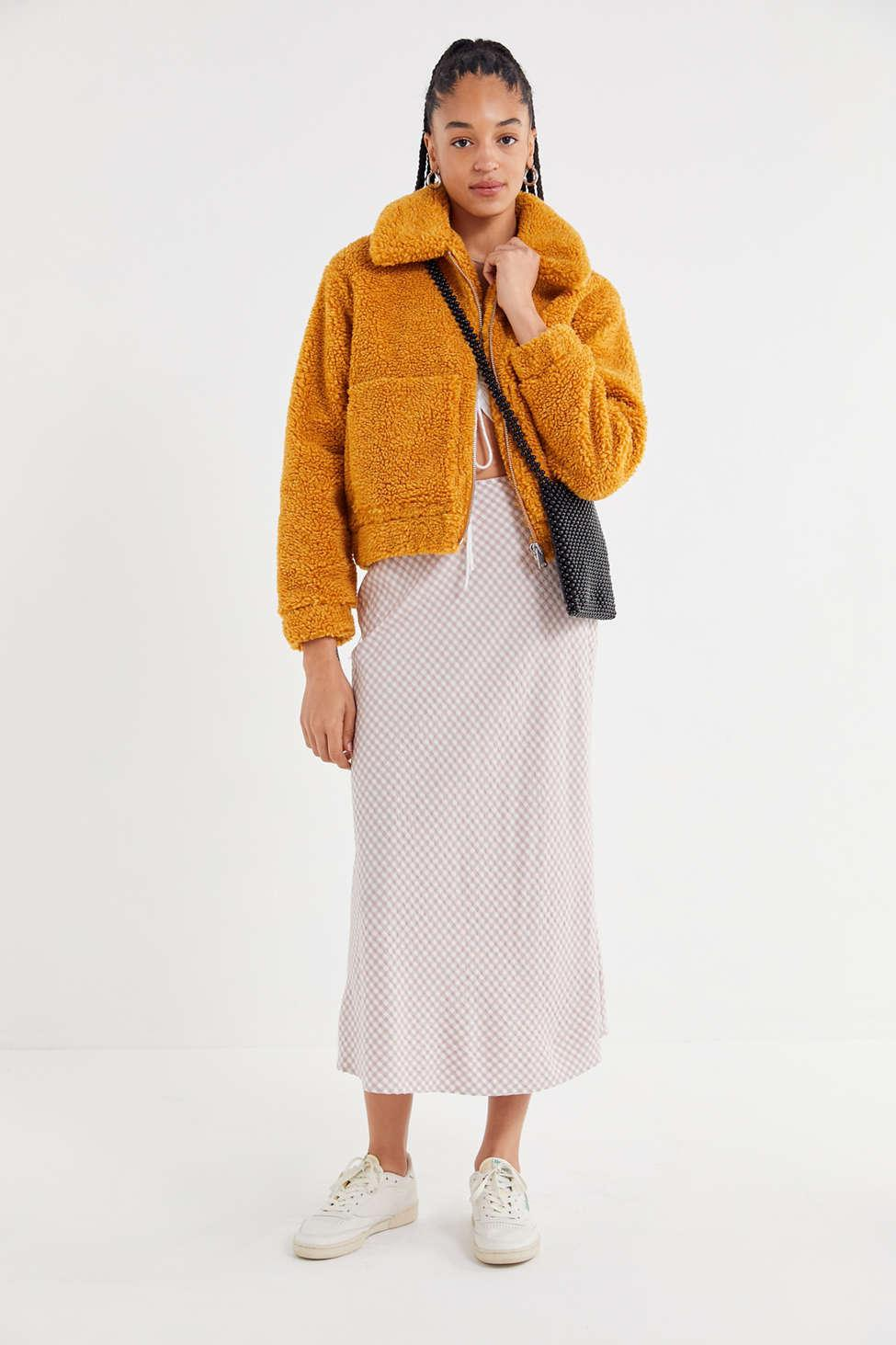 Urban Outfitters Uo Cropped Teddy Jacket In Orange Lyst