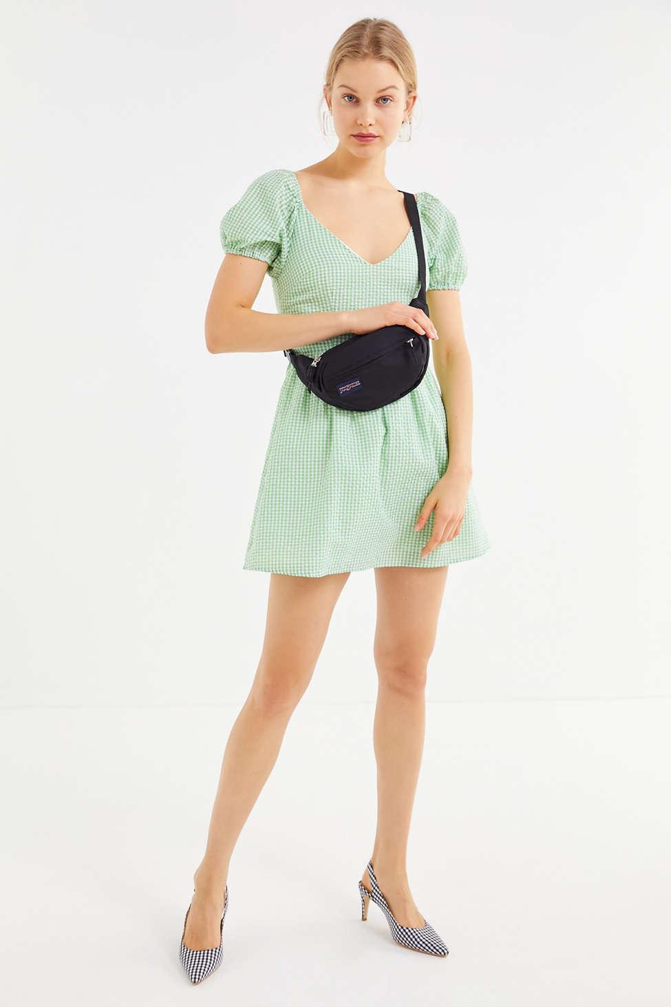 7ec0740fff1f Urban Outfitters Uo Gingham Seersucker Mini Dress in Green - Lyst