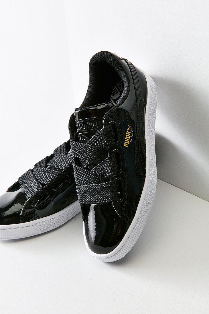 408aafcb40a Lyst - PUMA Basket Heart Patent Leather Sneaker in Black