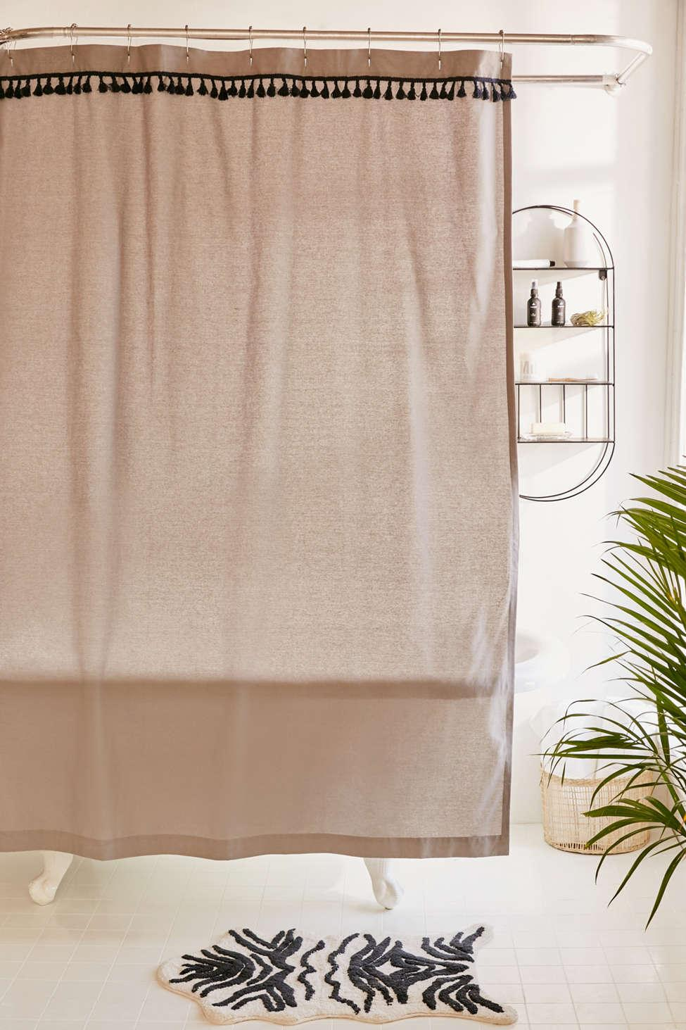 Urban Outfitters Mens Gray Washed Cotton Tassel Shower Curtain