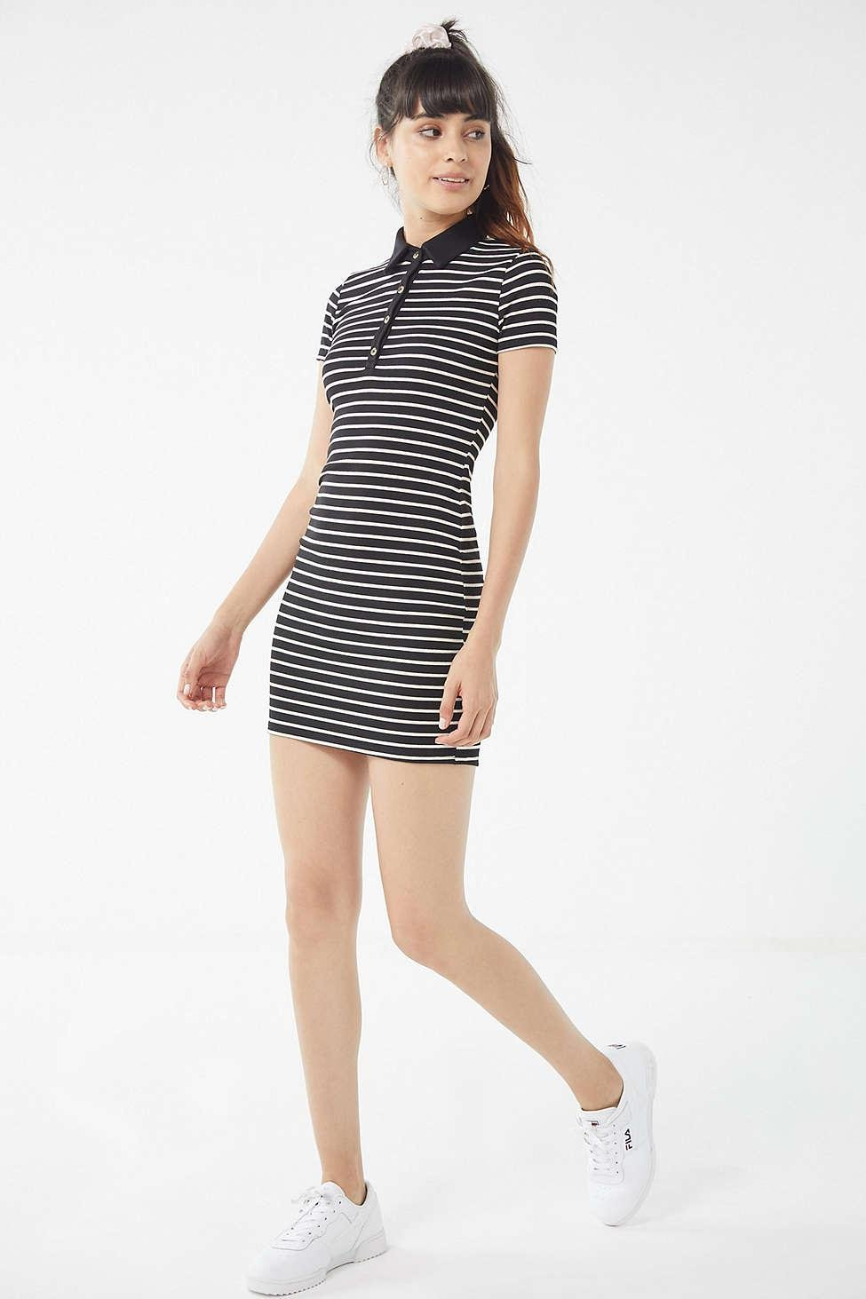bdb2d9240003 Urban Outfitters Uo Striped Button-down Polo Mini Dress in Black - Lyst