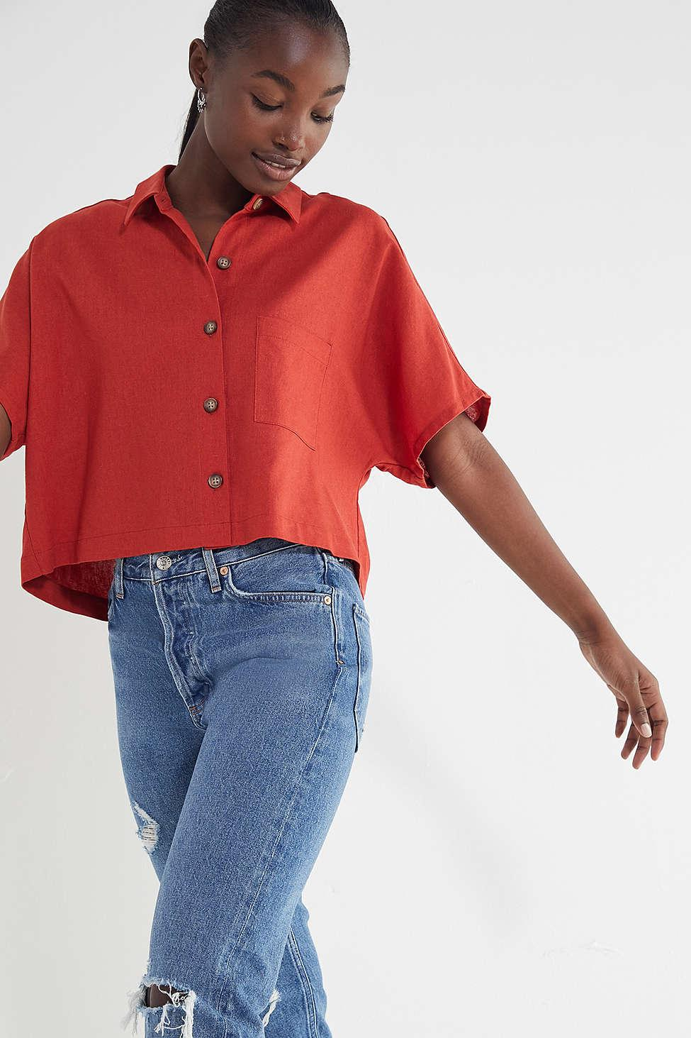 cecb3a58 Lyst - Urban Renewal Remnants Linen Button-down Shirt in Red