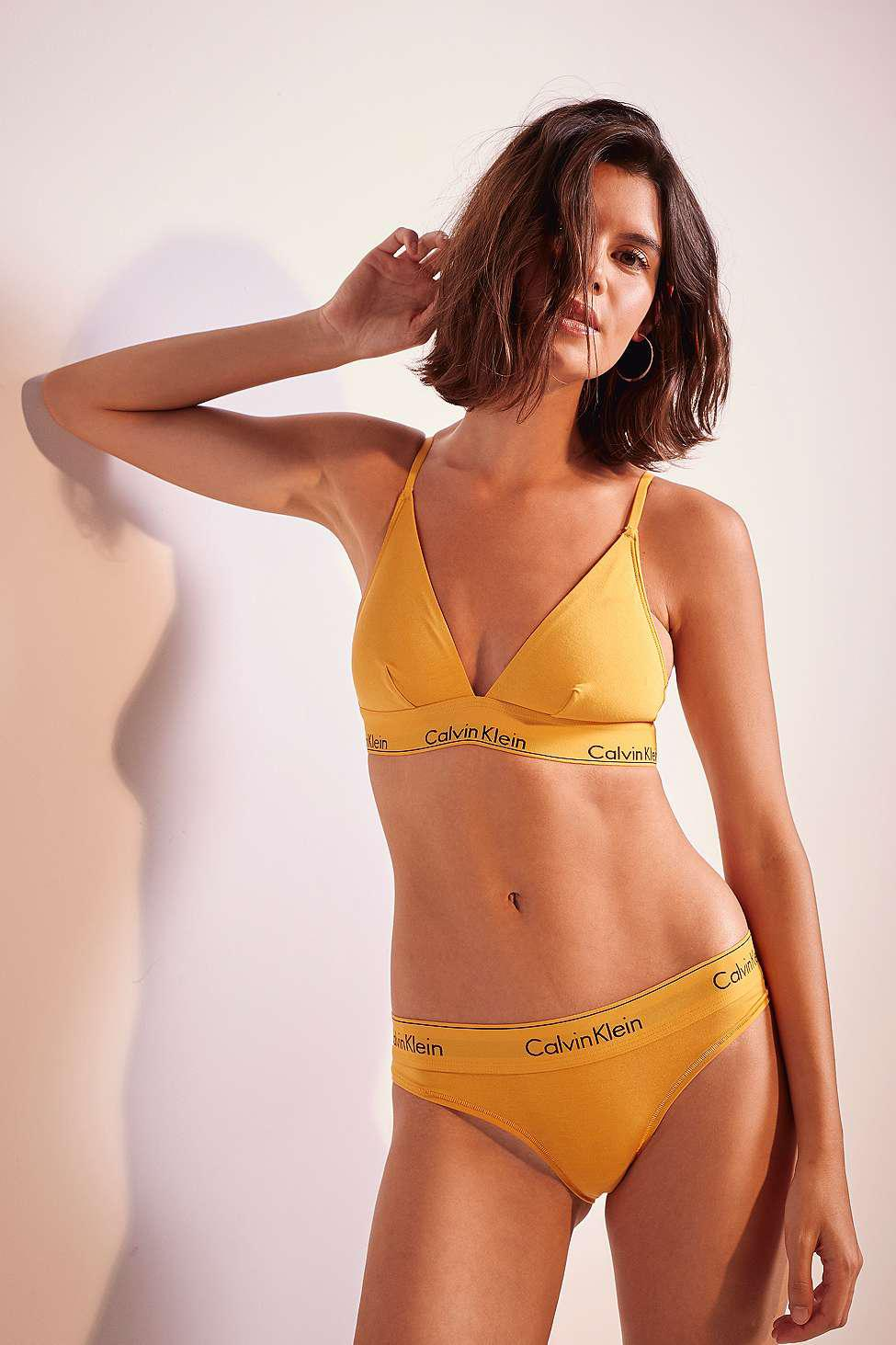 ed1cc0442e Calvin Klein Terracotta Orange Triangle Bralette - Womens Xs in ...