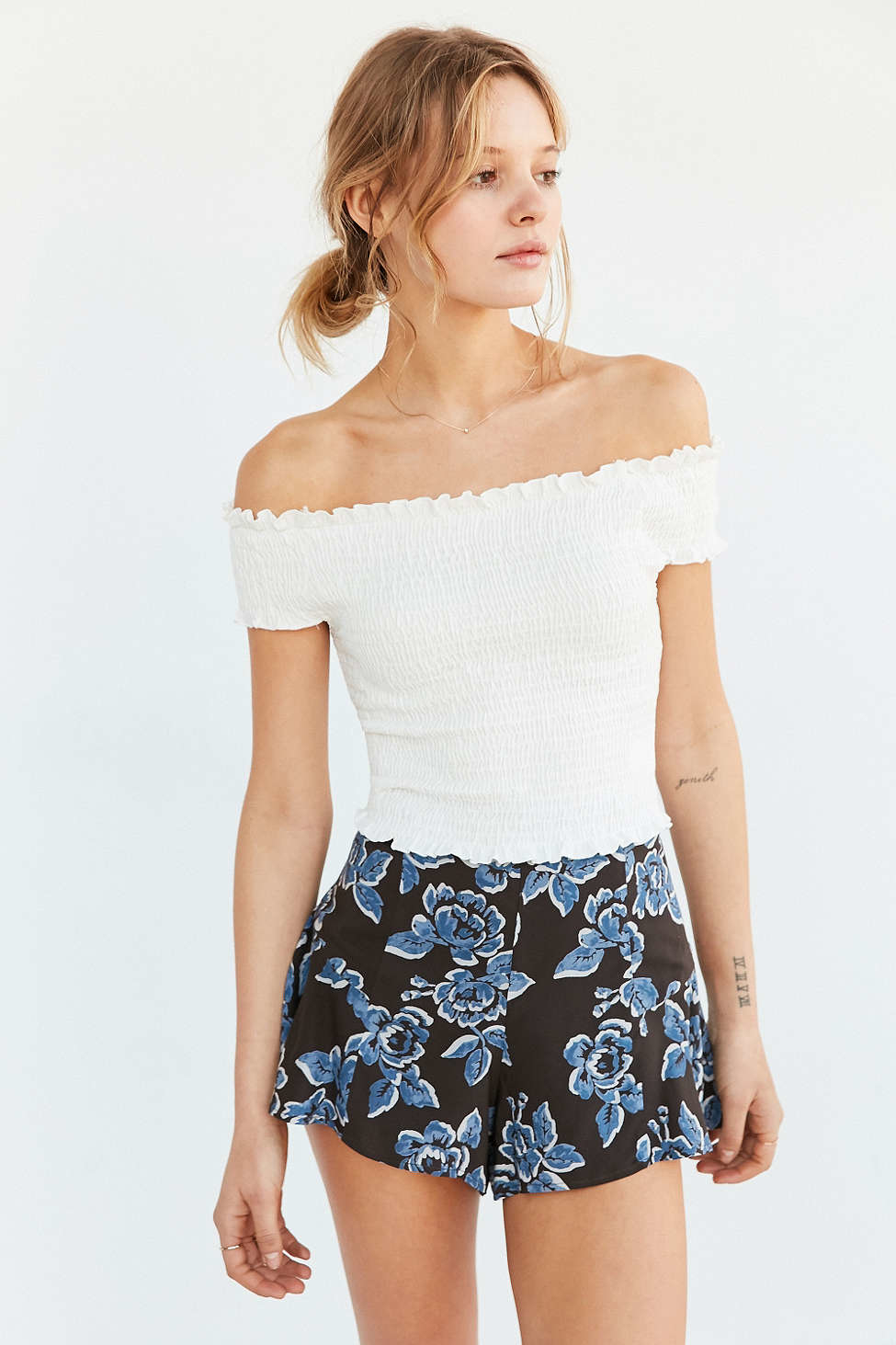 0d9fc43c1a9be5 Lyst - Kimchi Blue Rose Smocked Off-the-shoulder Top in White
