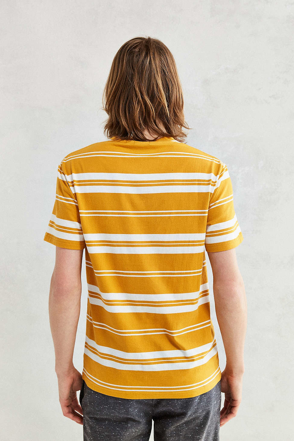 Urban outfitters Uo Classic Stripe Pocket Tee in Yellow for Men | Lyst
