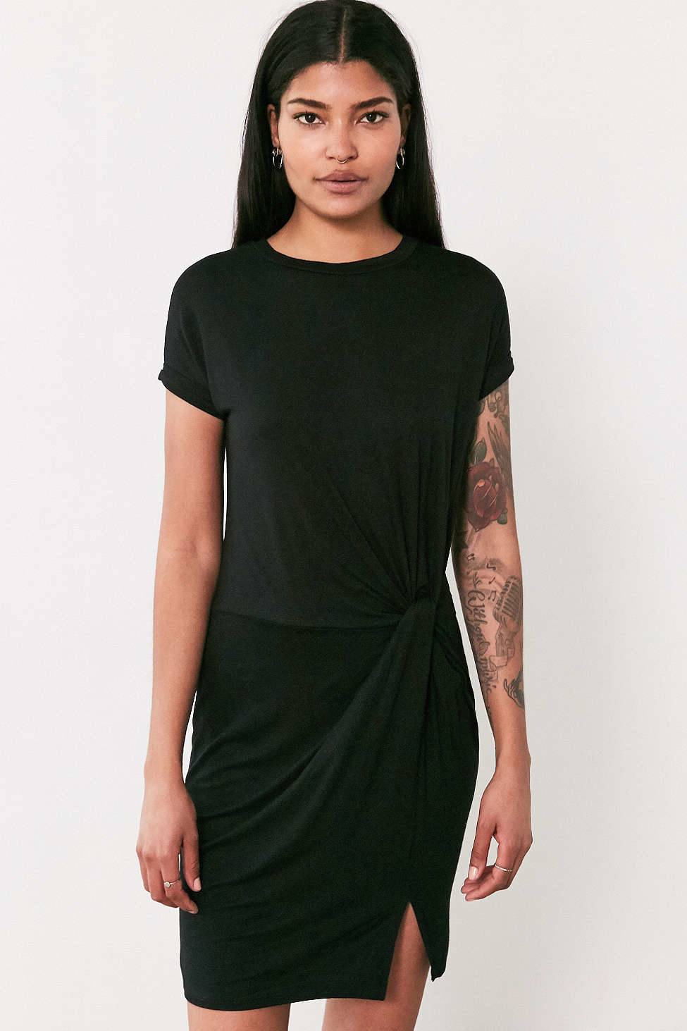 4d58e83edae Lyst - Silence + Noise Side Knot T-shirt Dress in Black