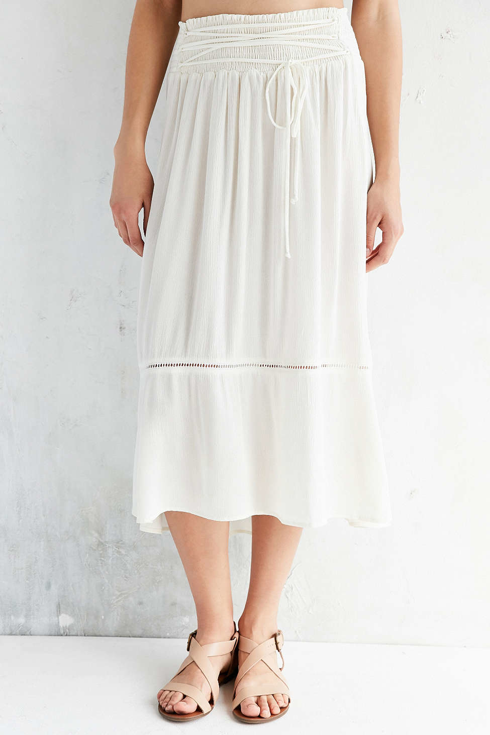 kimchi blue meadow lace up midi skirt in white lyst