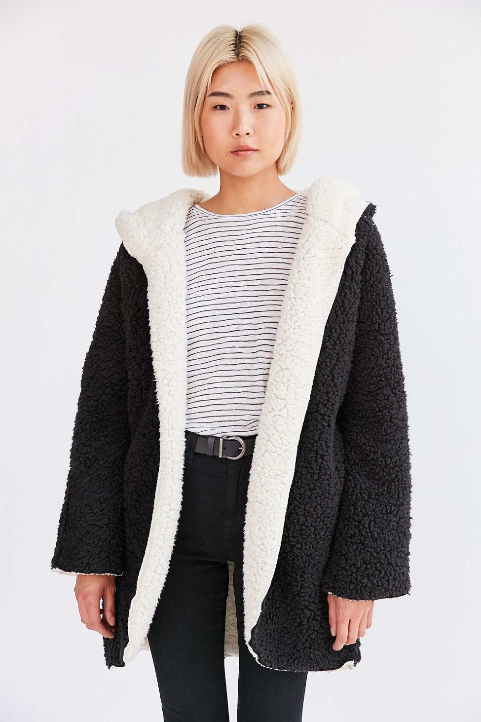 Lyst Ecote Cozy Reversible Hooded Jacket In Black