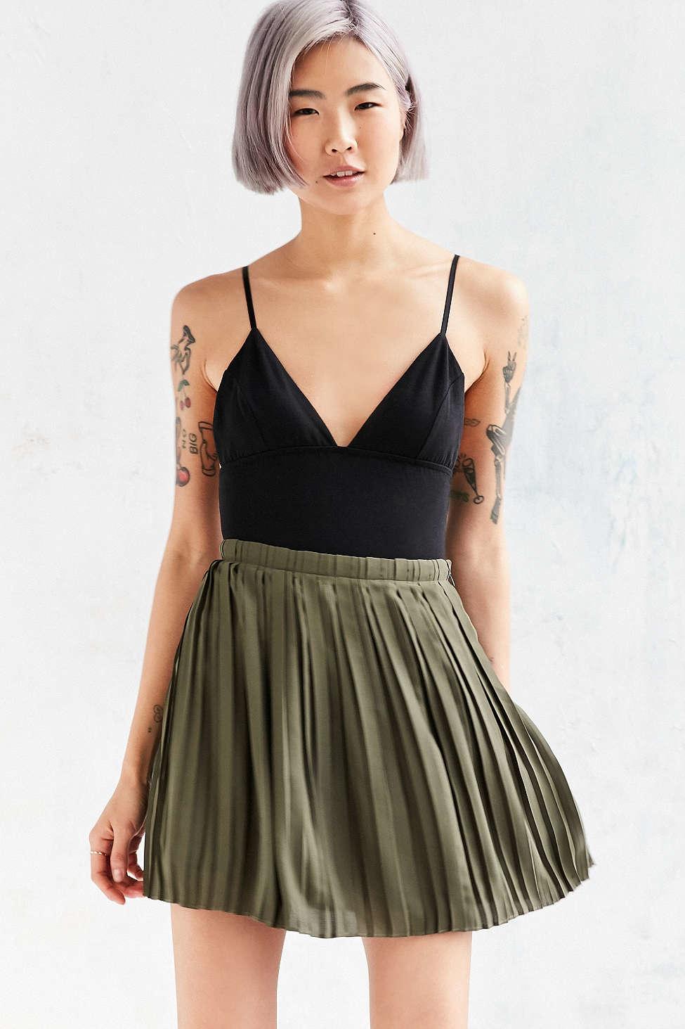 silence noise chiffon pleated mini skirt in green lyst
