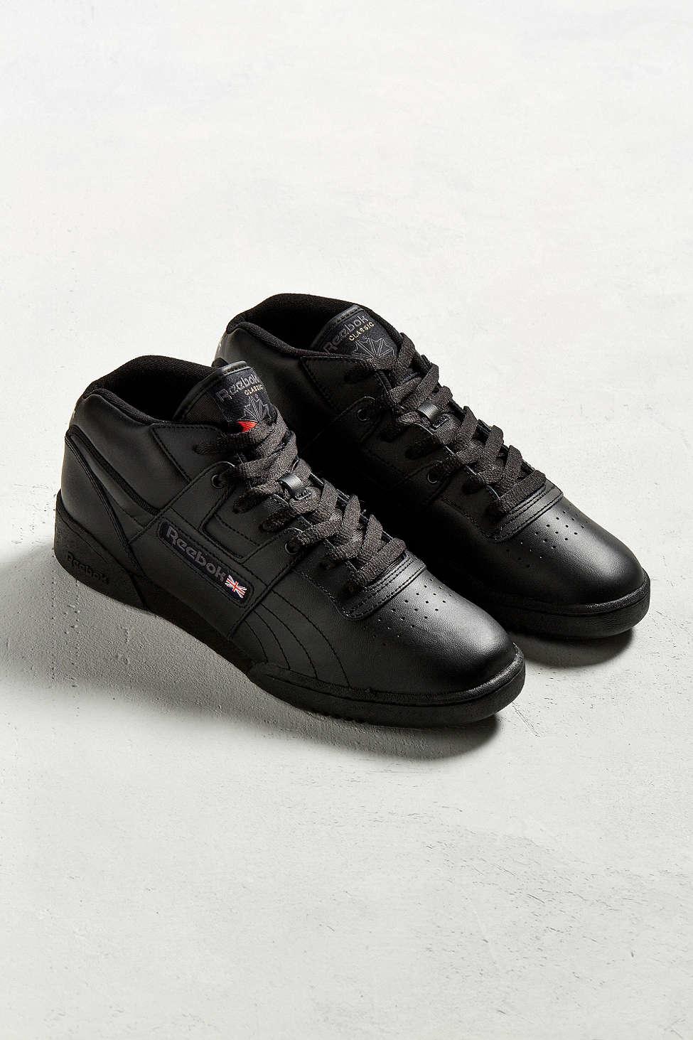 Reebok Workout Mid Sneaker In Black For Men Lyst