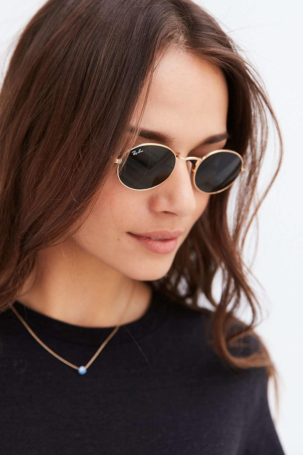 3331202cf1 Lyst - Ray-Ban Icon Oval Flat Lens Sunglasses in Metallic