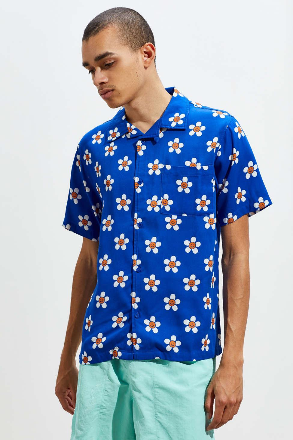 2ca4d00d Lazy Oaf Happy Flowers Blue Short-sleeve Shirt - Mens Xl in Blue for ...