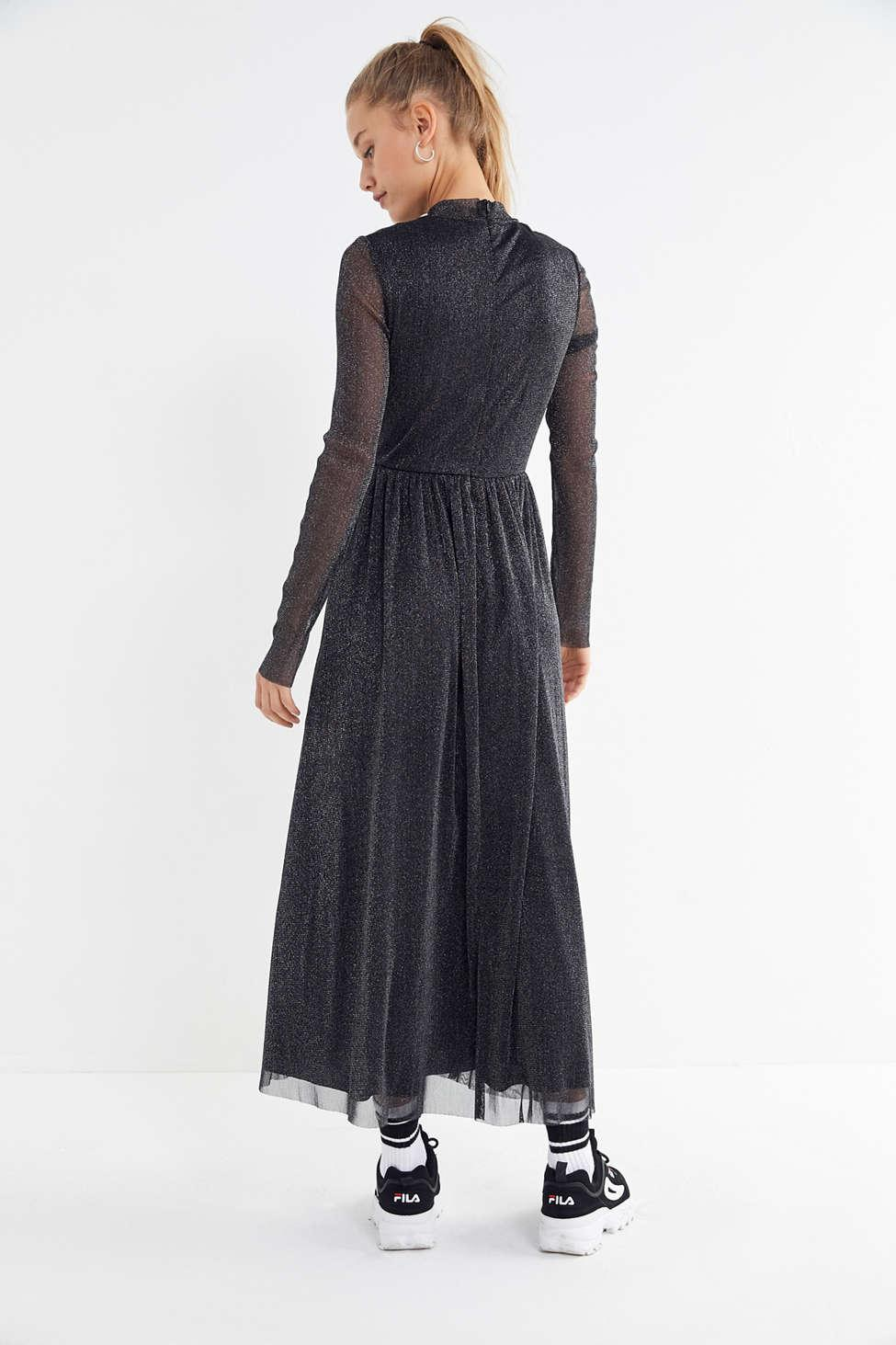 c468d4aa Urban Outfitters Uo Glitter Mesh Mock-neck Maxi Dress in Black - Lyst