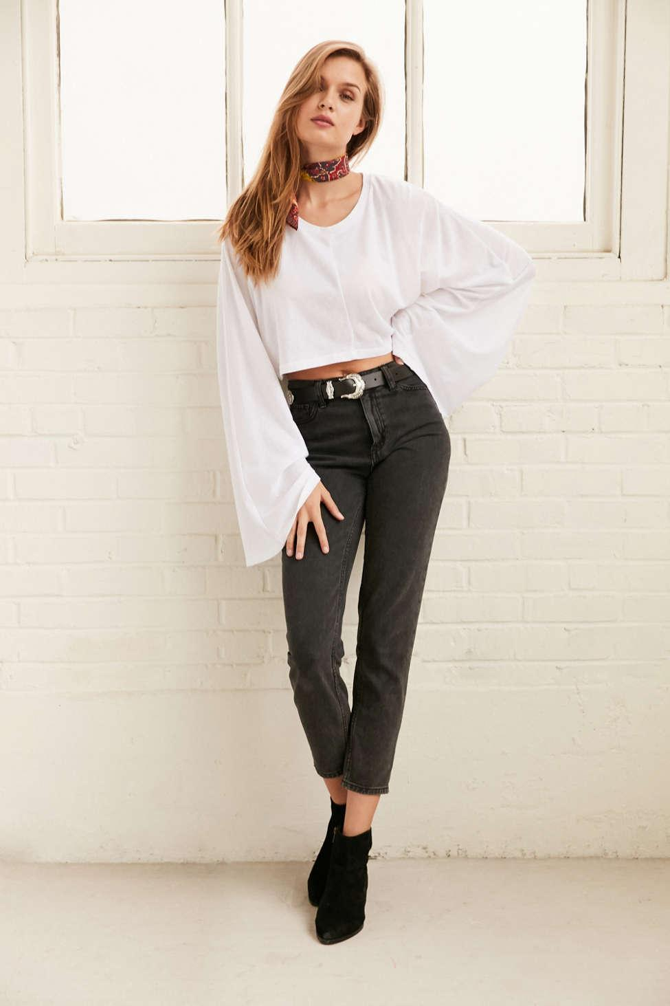 910fb1c5d3a Project Social T Claire Bell-sleeve Cropped Top in White - Lyst