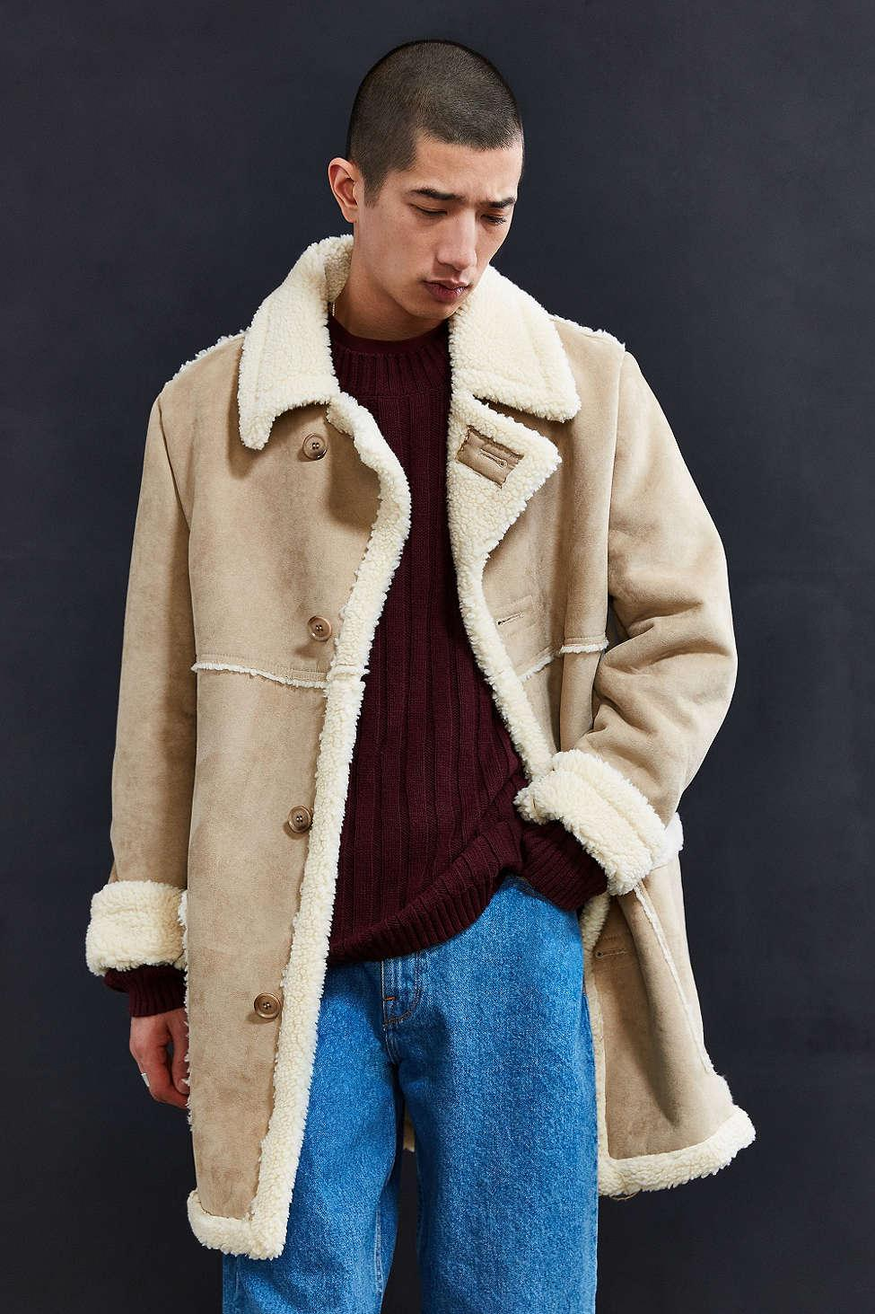 Urban outfitters Uo Faux Shearling Barn Coat in Natural for Men | Lyst
