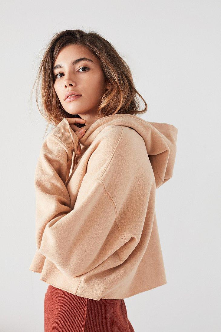 8708ccabf9baa Lyst - Out From Under Cropped Hoodie Sweatshirt in Natural