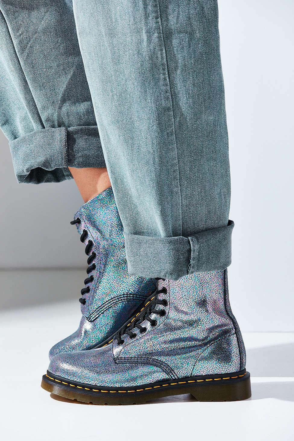 dr  martens pascal iridescent boot in gray