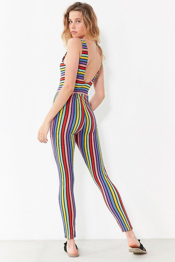 377a85444c Lyst - Motel Over The Rainbow Striped Bodycon Jumpsuit