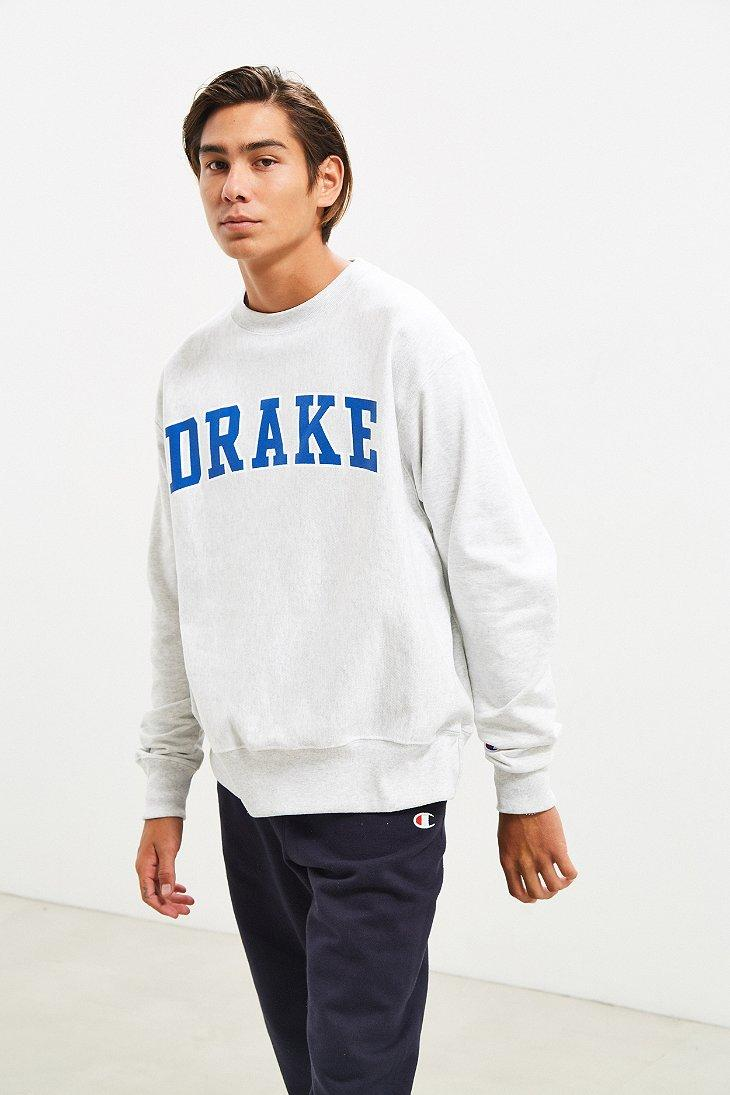 f0946447 Champion Drake University Reverse Weave Crew Neck Sweatshirt in Gray ...