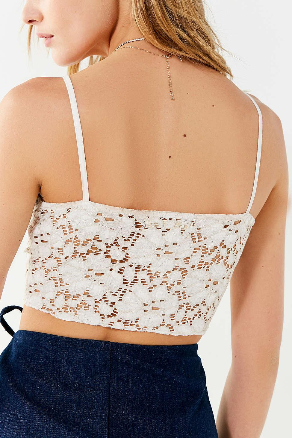 f8581aaa Lyst - Urban Outfitters Uo Bright Star Lace Button-down Cami in White
