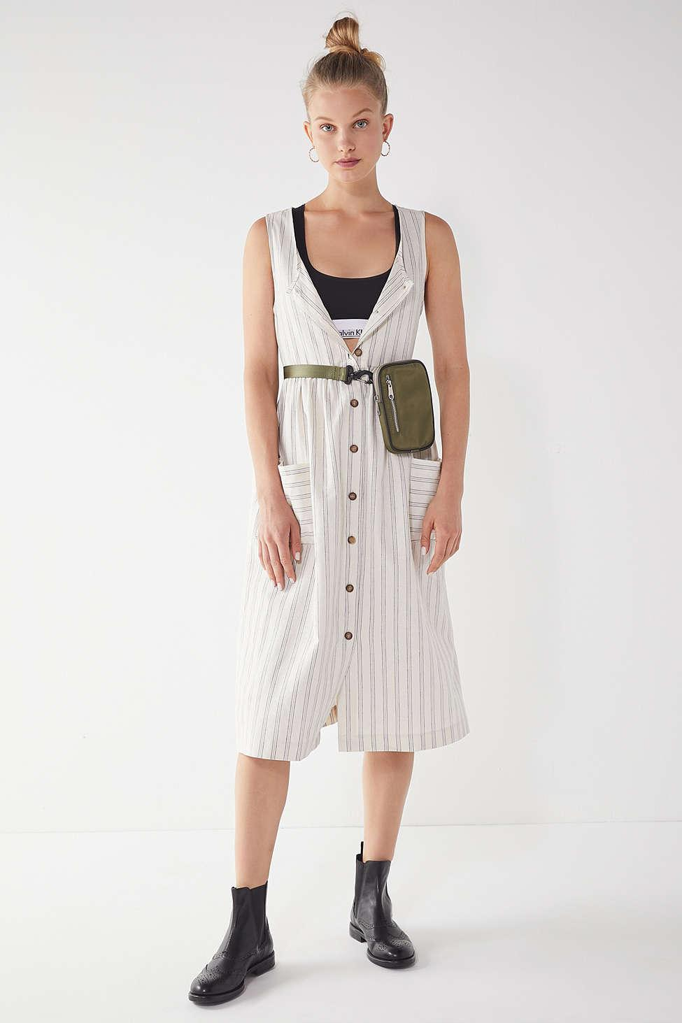 b0a3db2ff0b2 Lyst - Urban Renewal Remnants Striped Linen Midi Dress in White