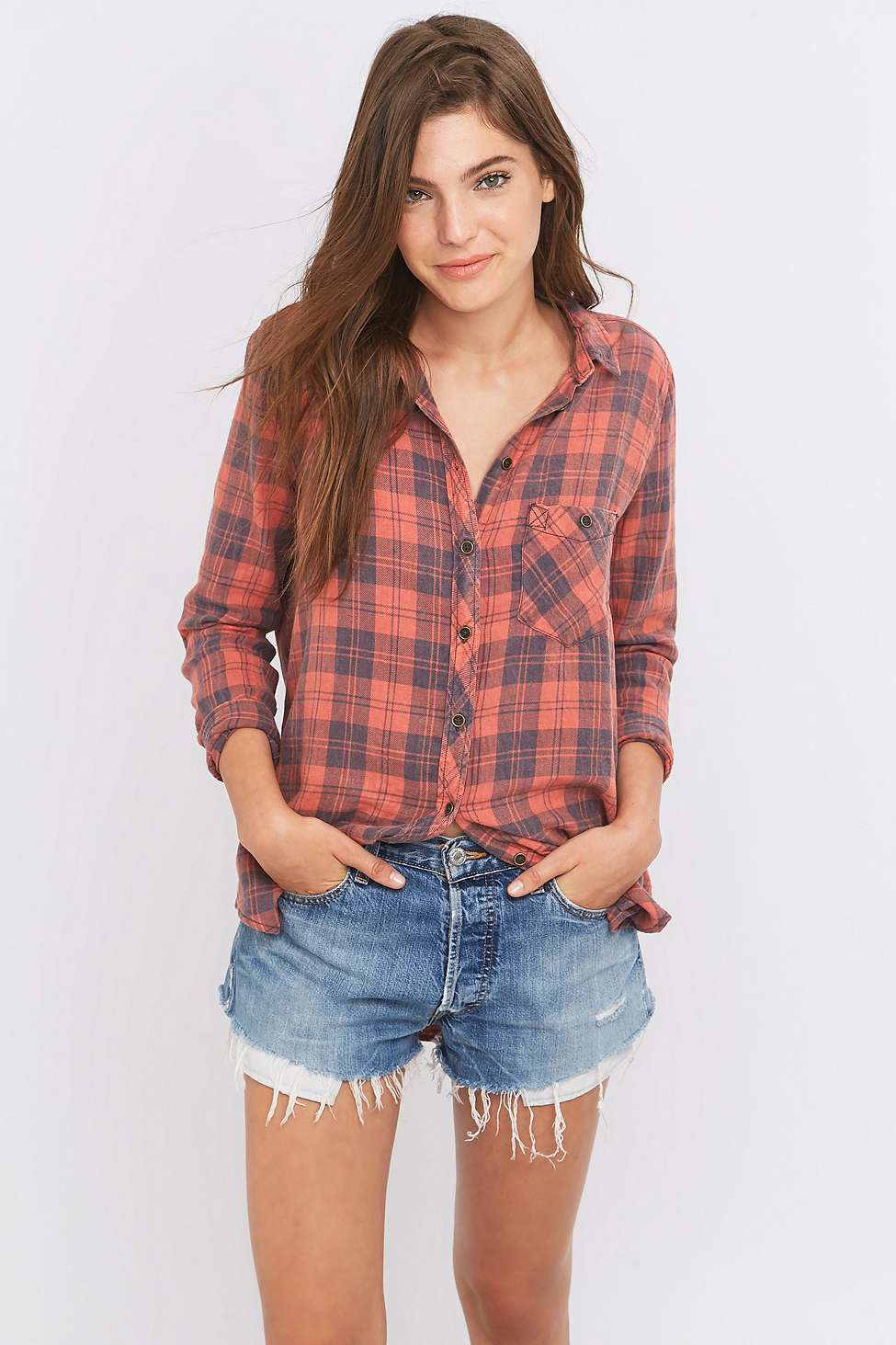 Lyst Bdg Polly Flannel Button down Shirt in Red