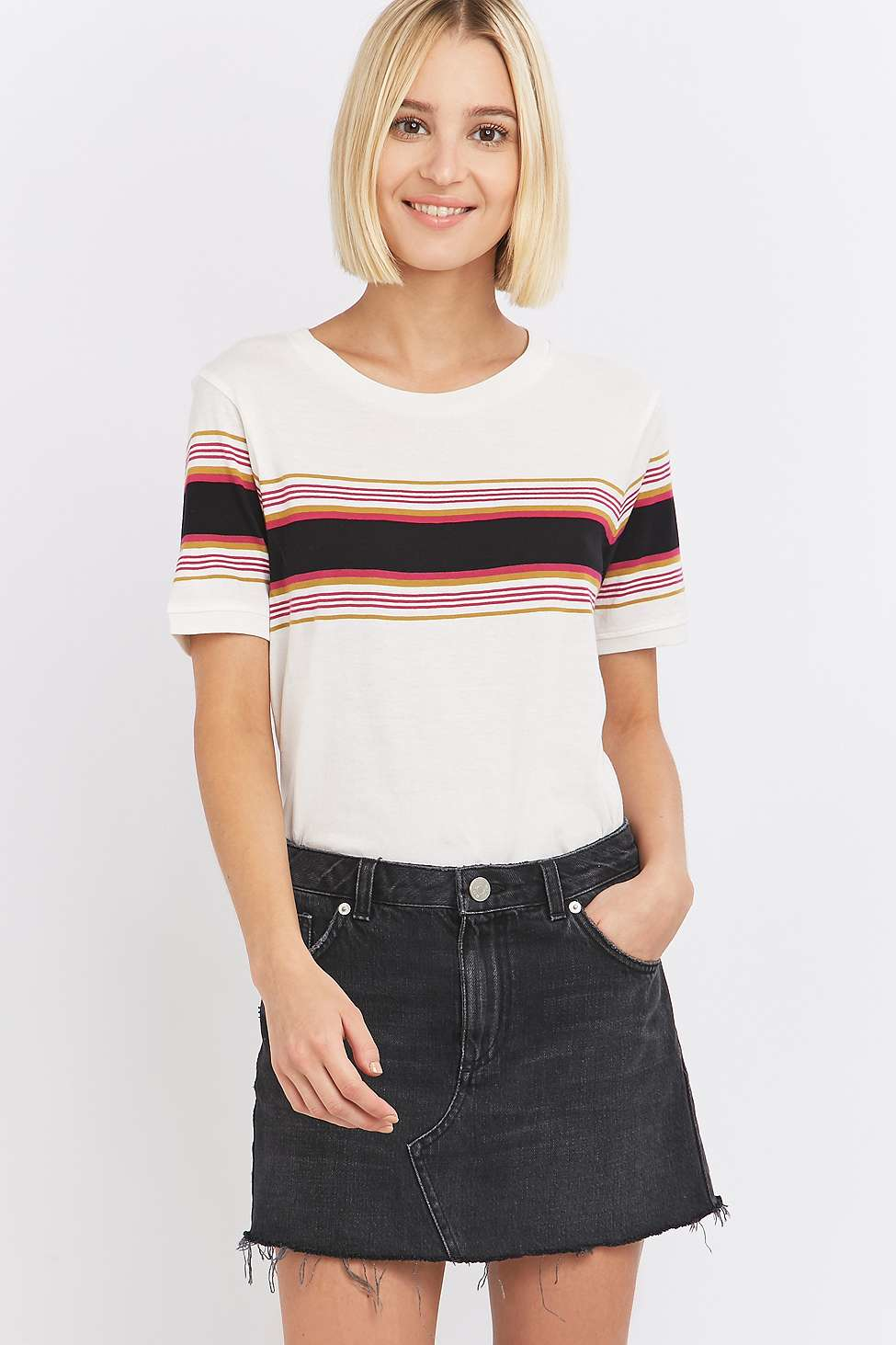 Lyst bdg purple placement striped t shirt in black for Purple and black striped t shirt